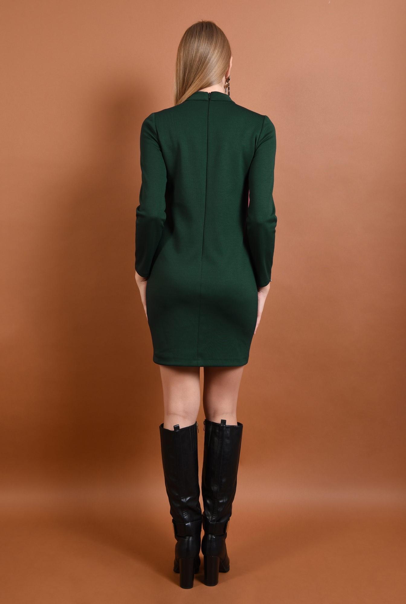 1 - 360 - rochie casual, scurta, verde, maneci lungi, guler inalt