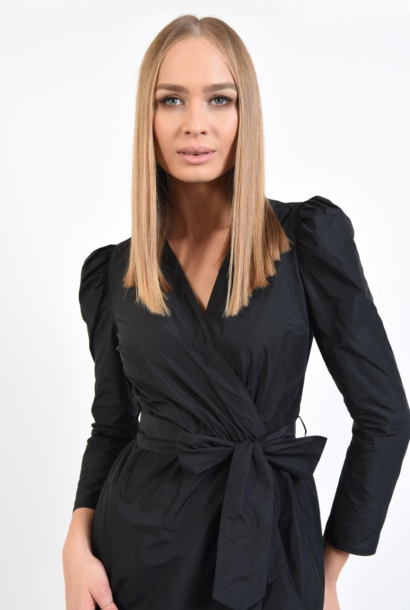 2 - 360 - rochie casual, scurta, petrecuta, neagra, cu cordon