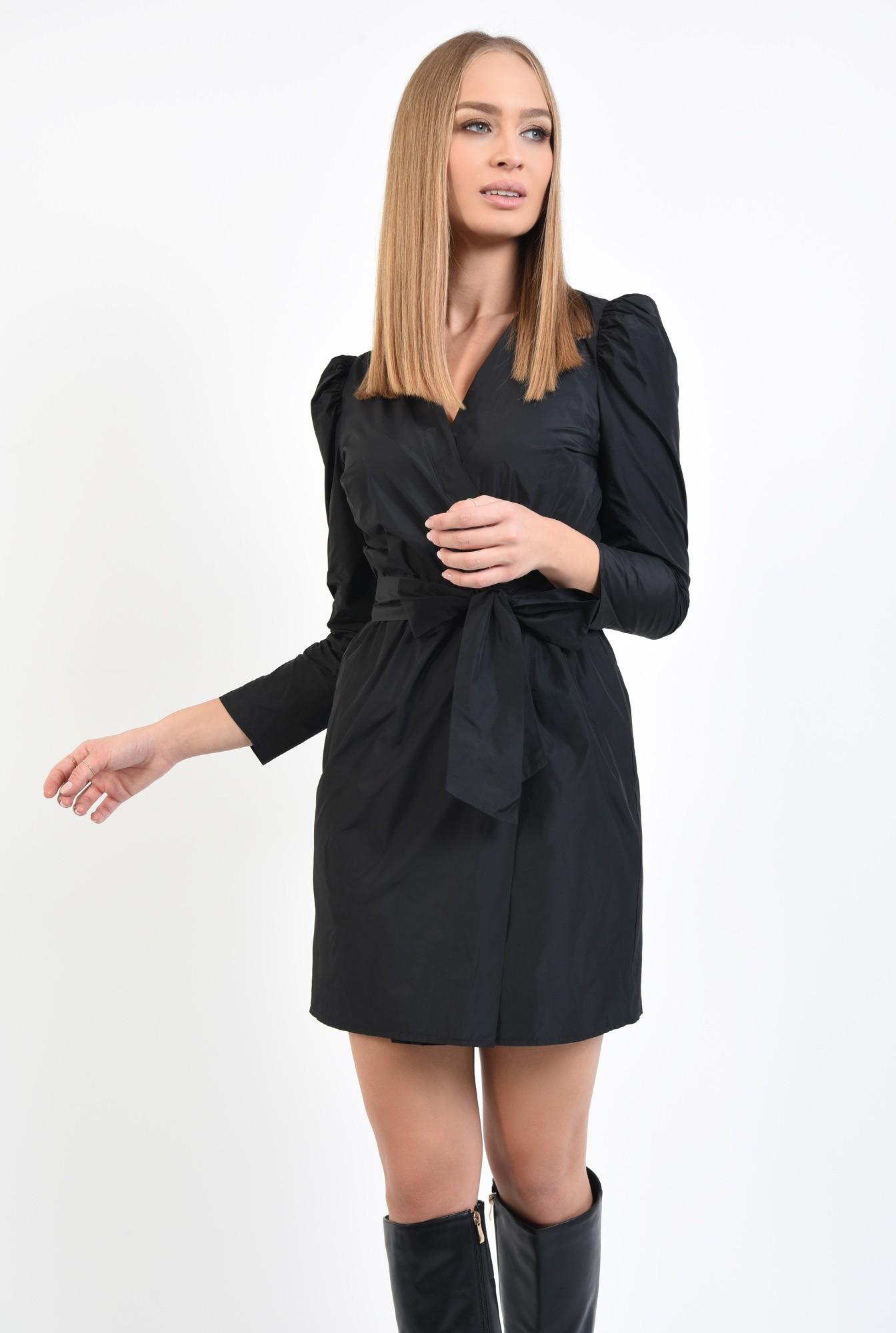 0 - 360 - rochie casual, scurta, petrecuta, neagra, cu cordon