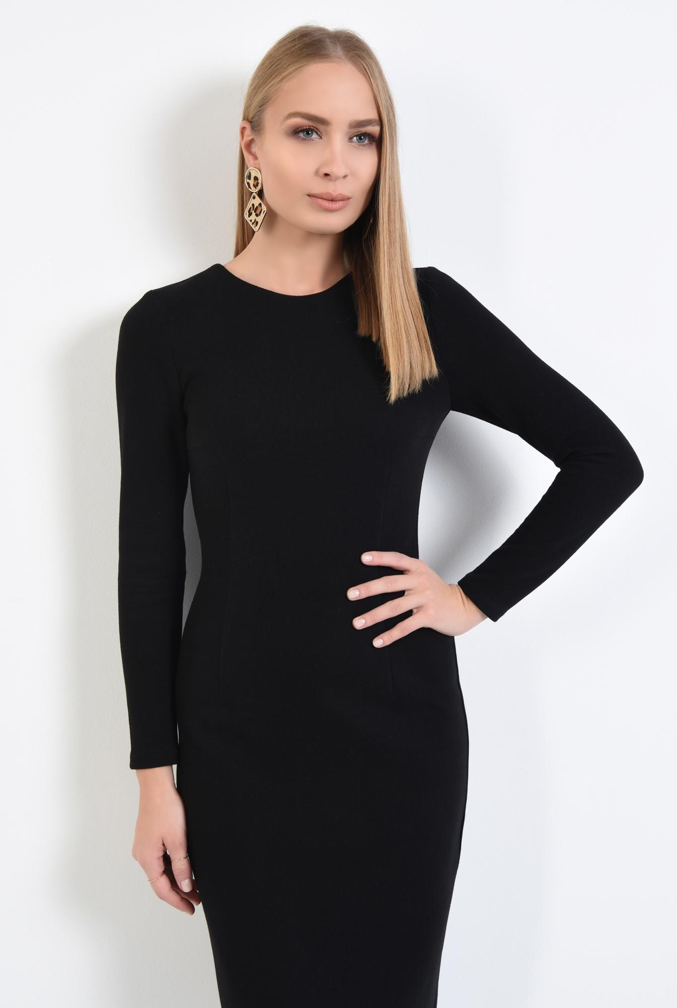 2 - 360 - rochie neagra, cambrata, casual, tricotata, rochii online