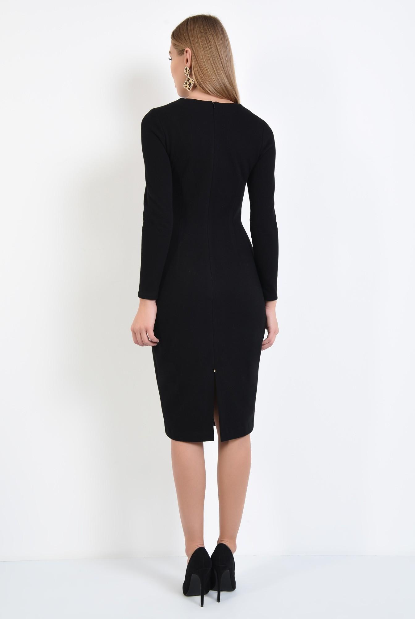 1 - 360 - rochie neagra, cambrata, casual, tricotata, rochii online