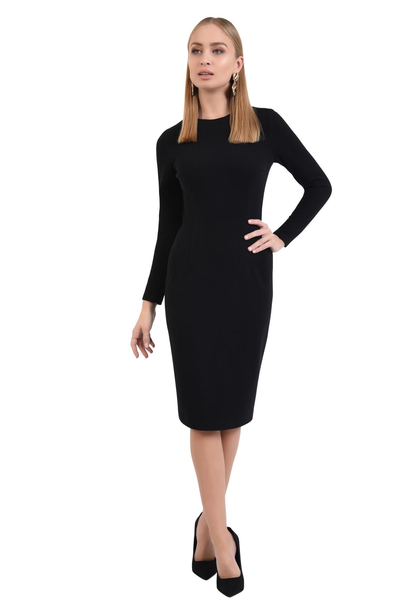 3 - 360 - rochie neagra, cambrata, casual, tricotata, rochii online