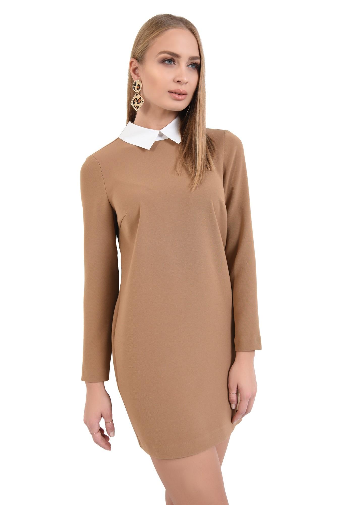 2 - rochie de zi, mini, cu croi drept, guler alb