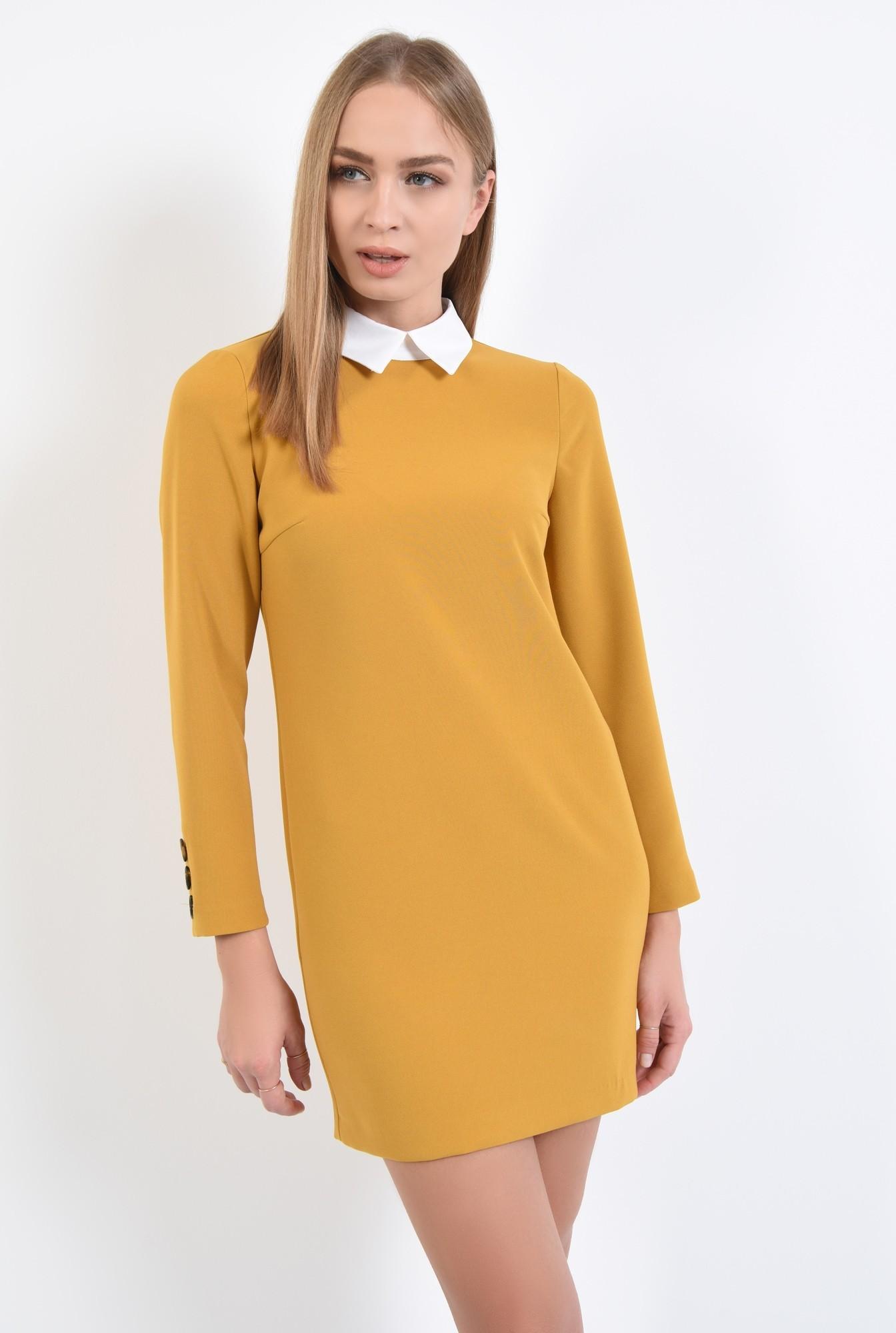 0 - rochie casual, croi drept, guler alb, rochii online