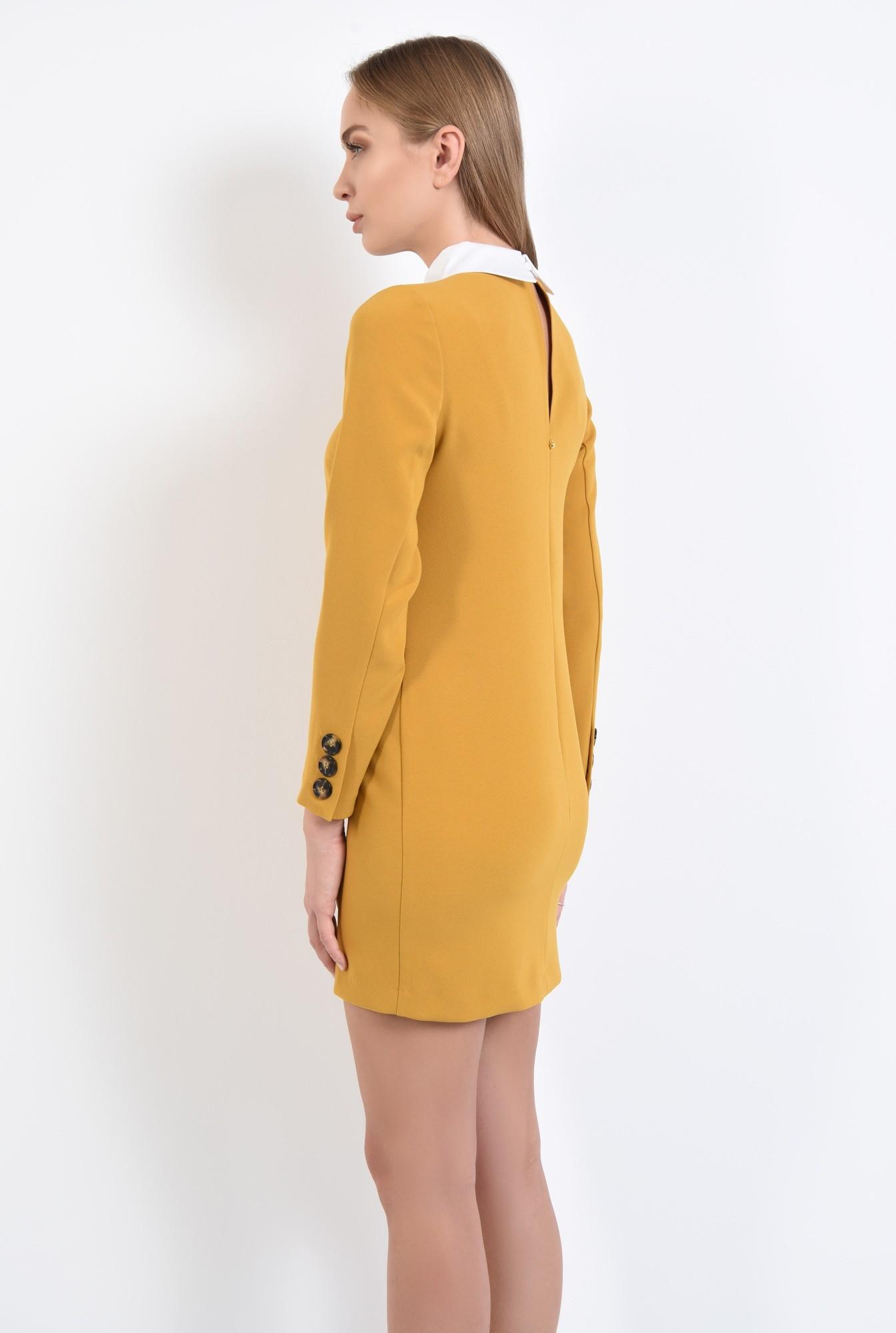 1 - rochie casual, croi drept, guler alb, rochii online