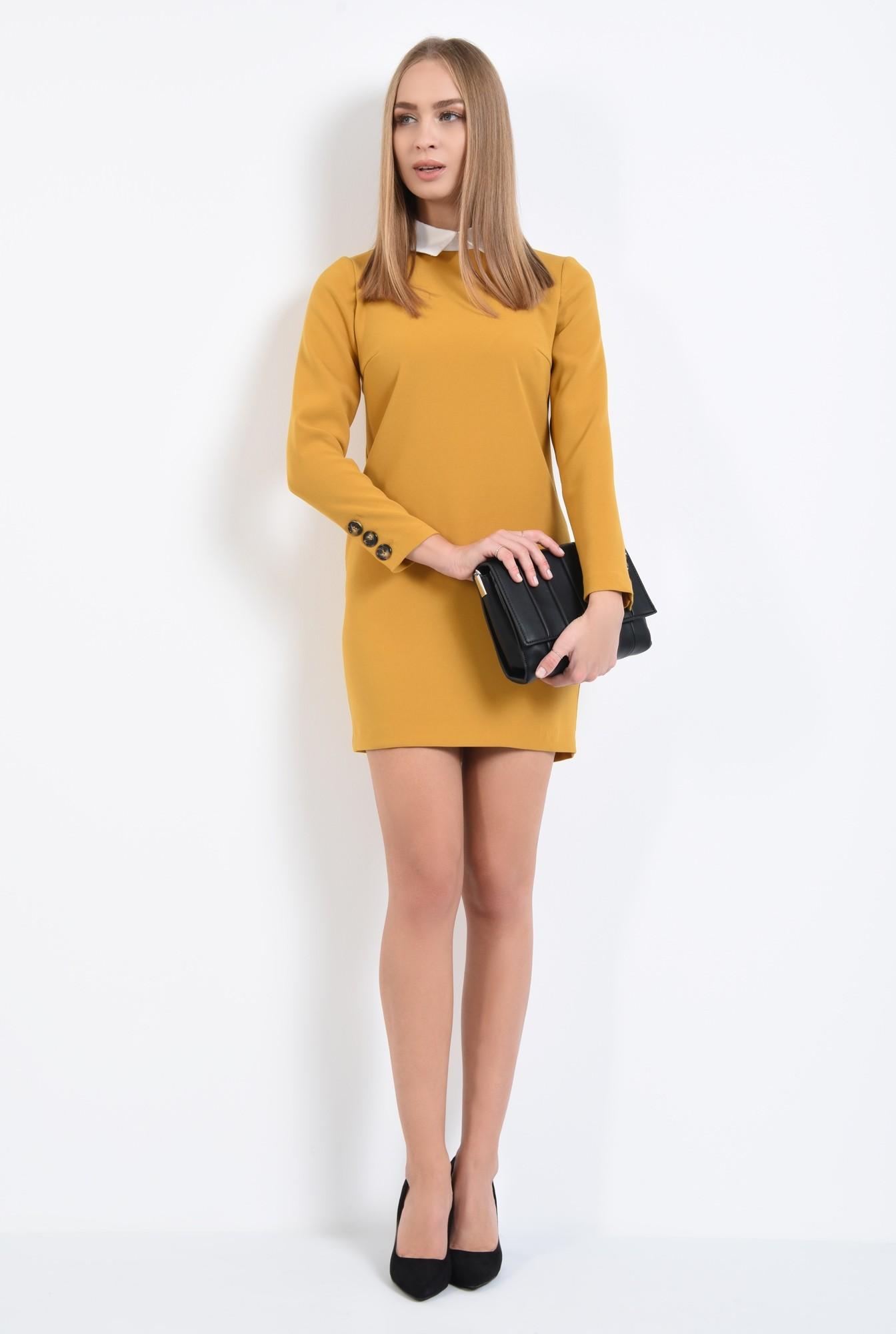 3 - rochie casual, croi drept, guler alb, rochii online