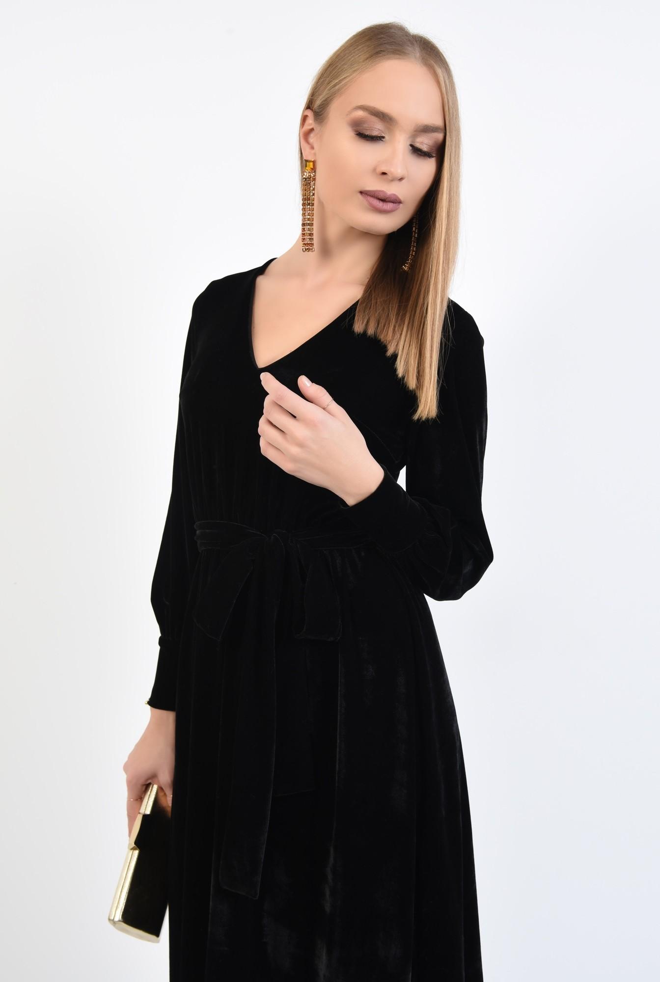2 - rochie eleganta, neagra, midi, clos, cu cordon