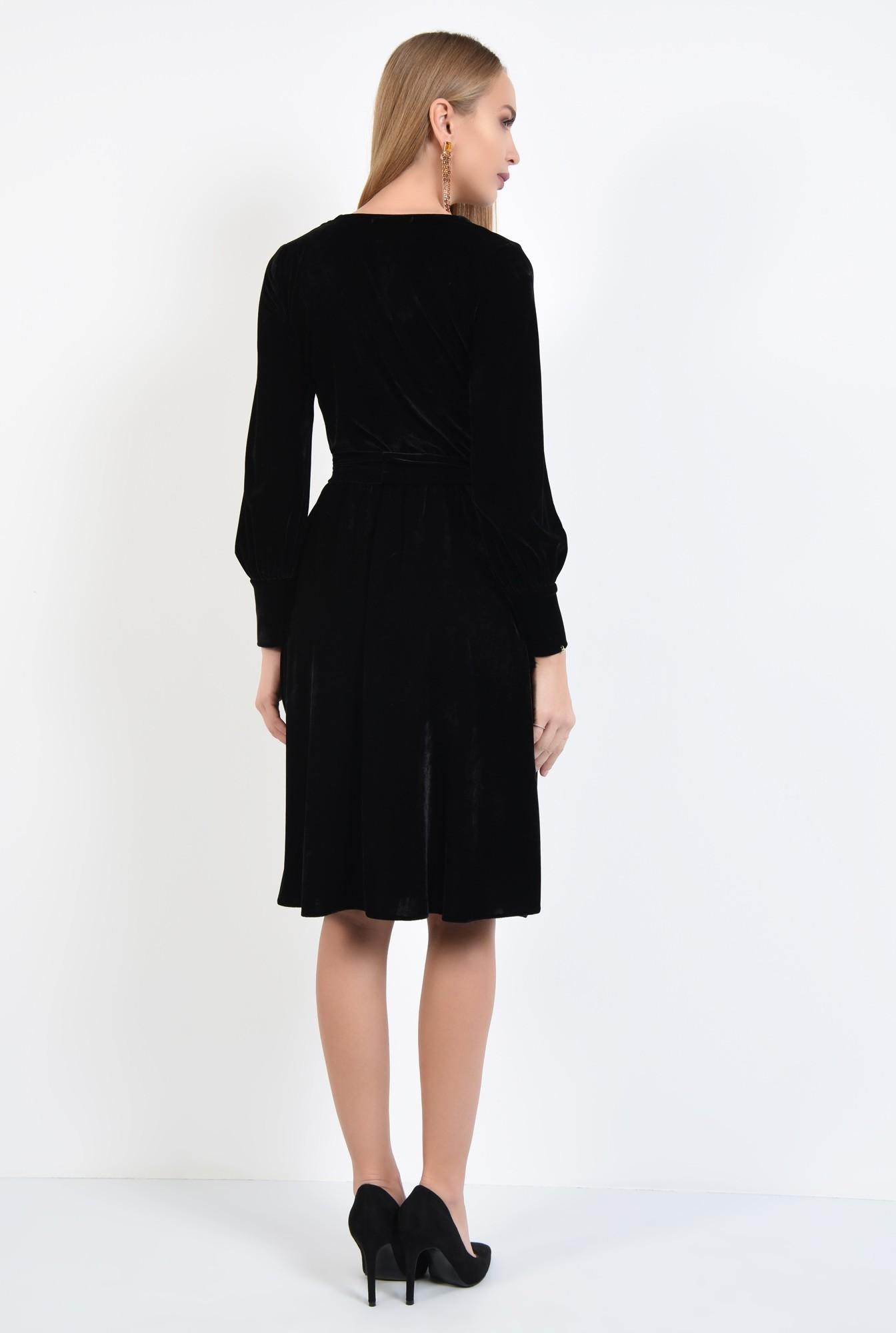1 - rochie eleganta, neagra, midi, clos, cu cordon