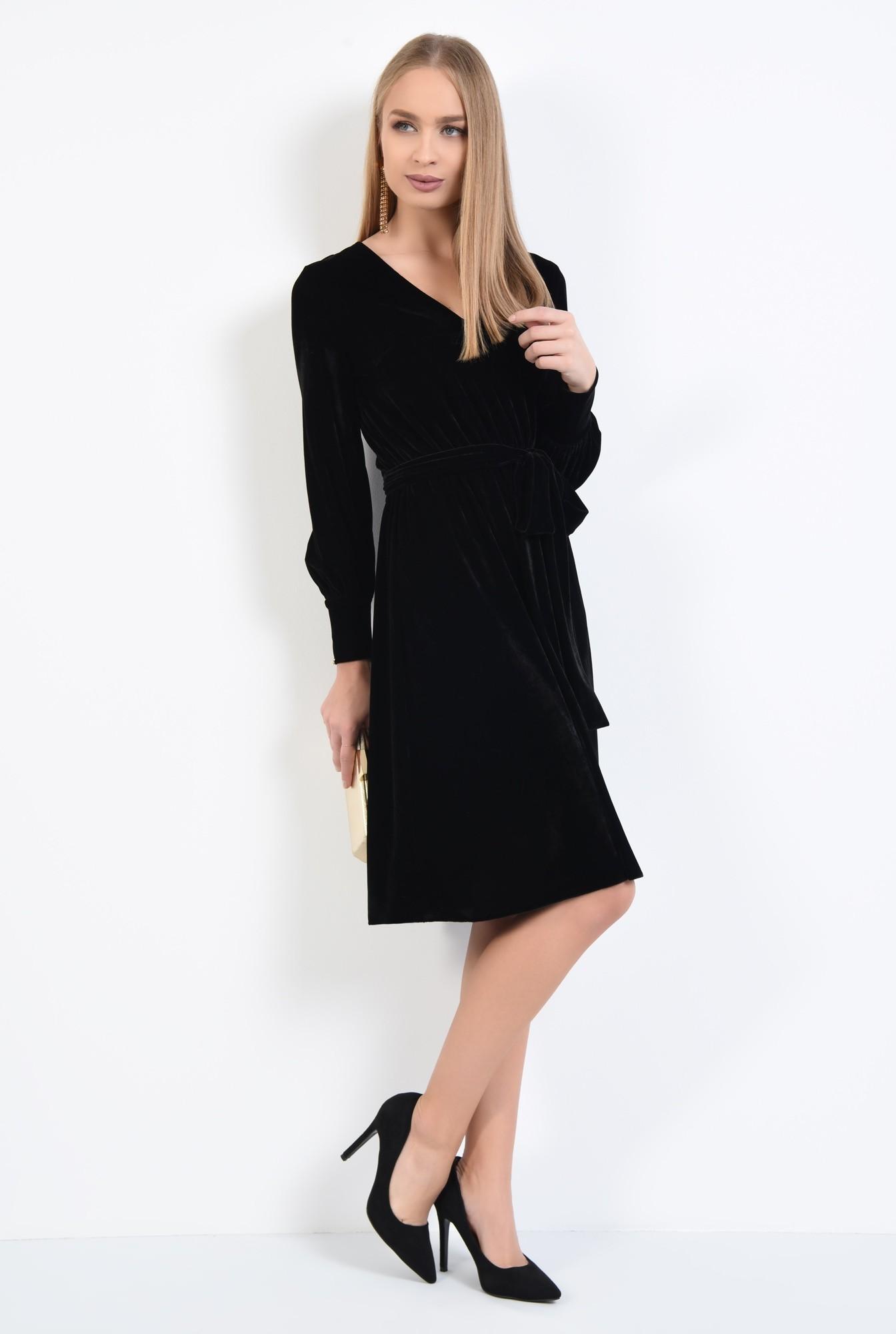 3 - rochie eleganta, neagra, midi, clos, cu cordon