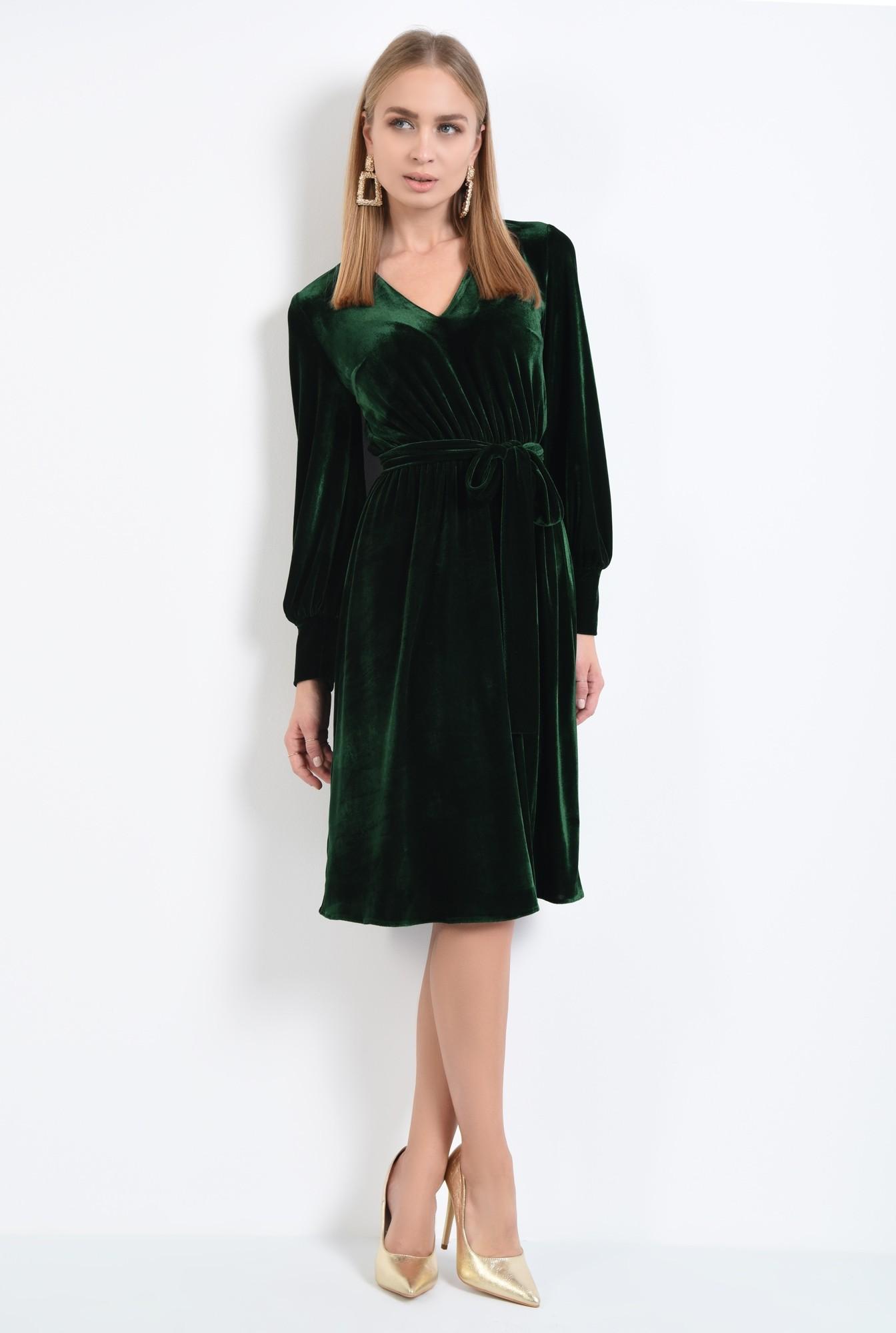 3 - rochie midi, funda la talie, rochii online. croi evazat, maneci lungi cu mansete