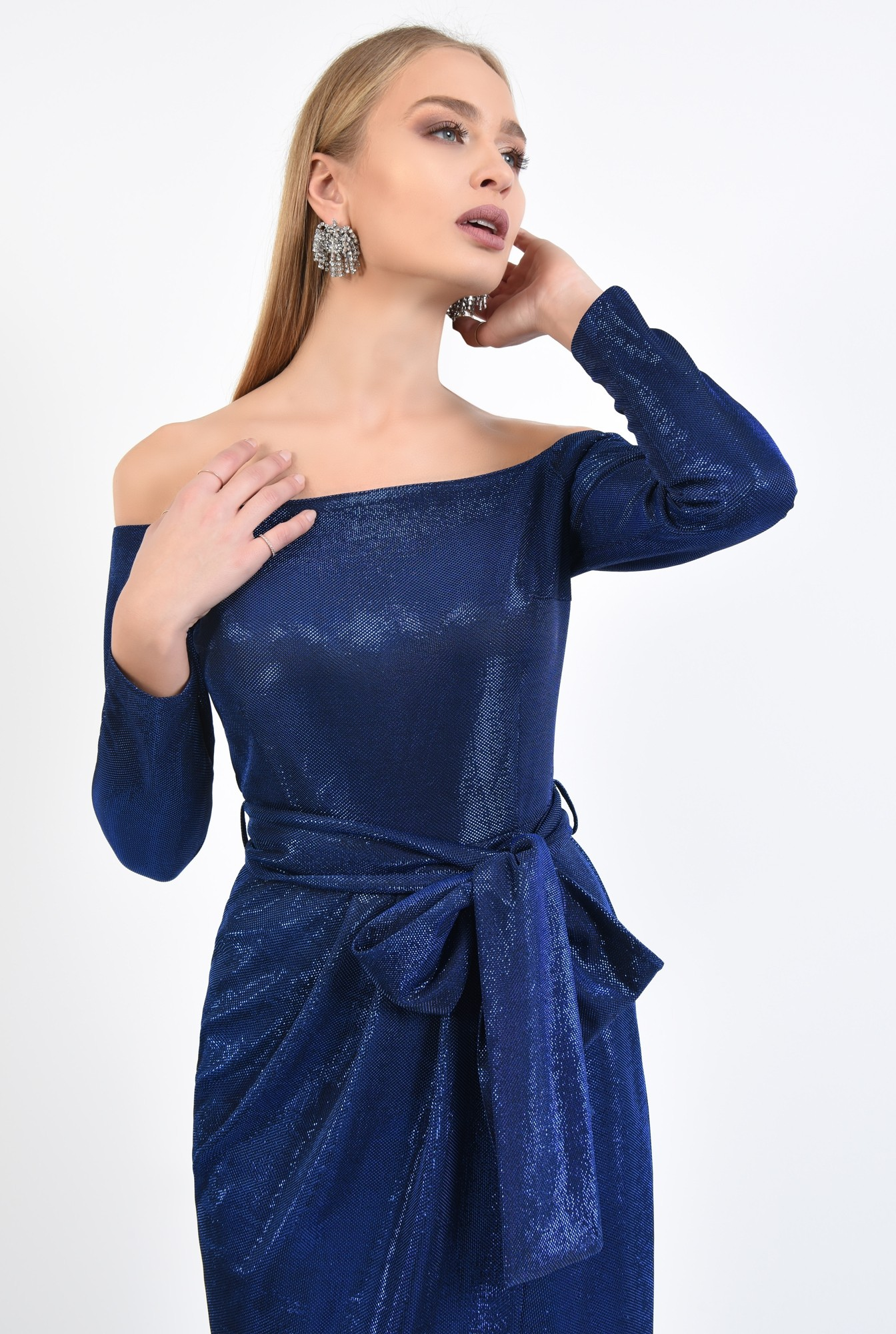 2 - rochie eleganta, midi, conica, cu cordon, rochii online