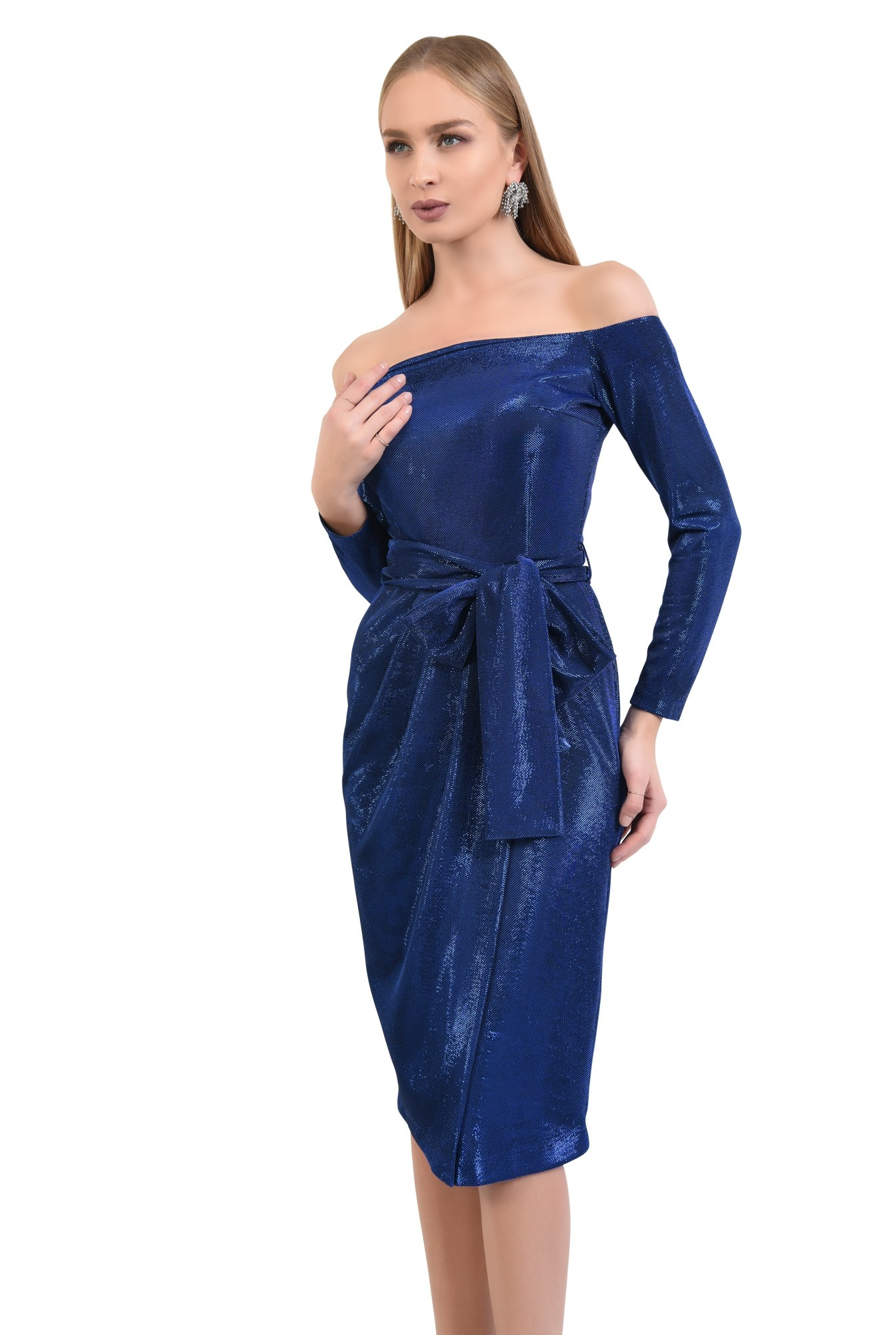 0 - rochie eleganta, midi, conica, cu cordon, rochii online