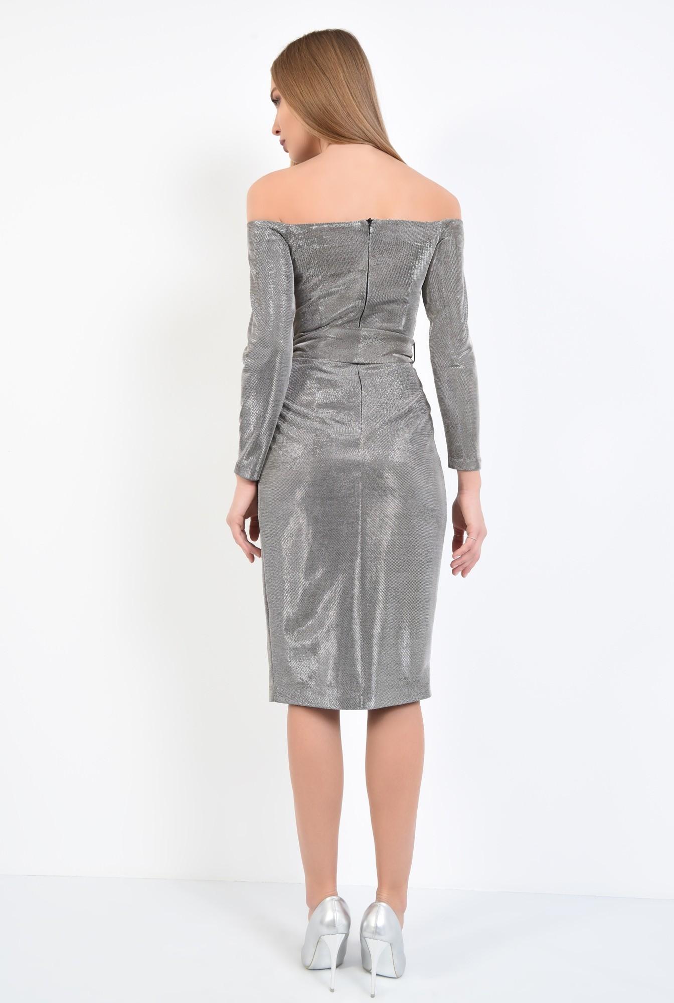 1 - 360 - rochie eleganta, din lurex, cu sclipici, cu funda