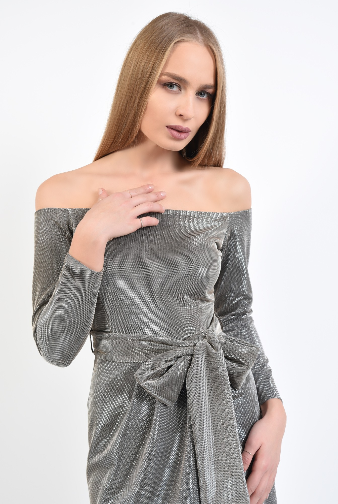 2 - 360 - rochie eleganta, din lurex, cu sclipici, cu funda