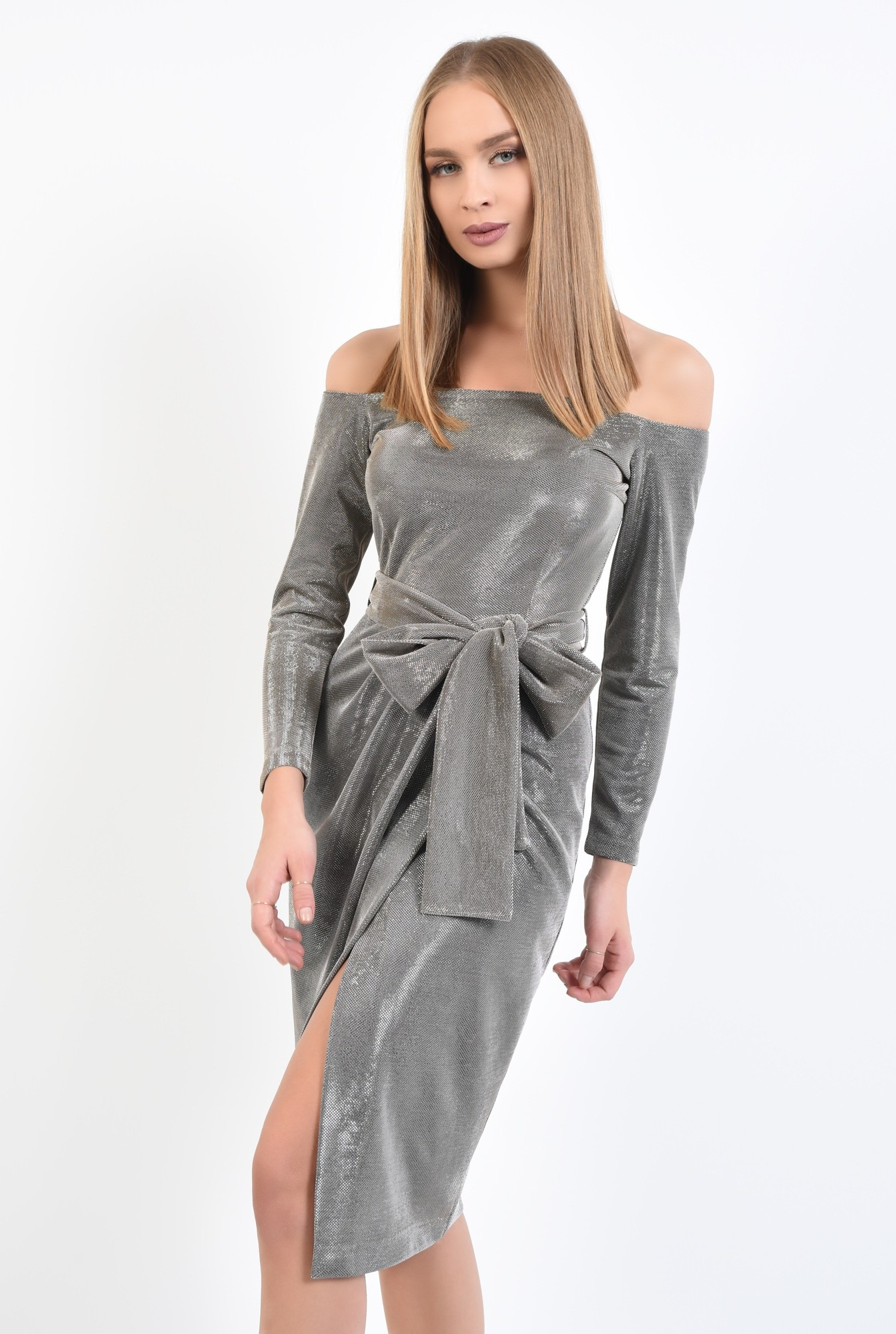0 - 360 - rochie eleganta, din lurex, cu sclipici, cu funda