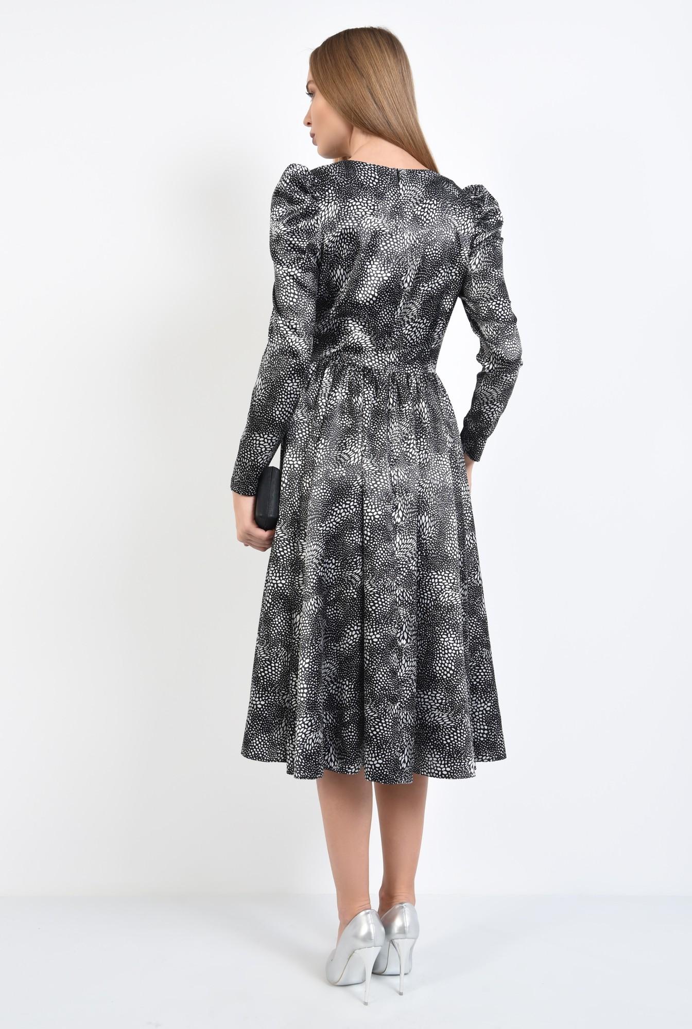 1 - rochie eleganta, clos, cusatura in talie, maneci lungi, satin imprimat