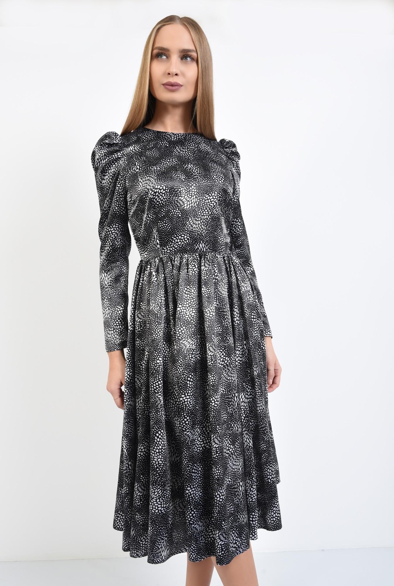 2 - rochie eleganta, clos, cusatura in talie, maneci lungi, satin imprimat