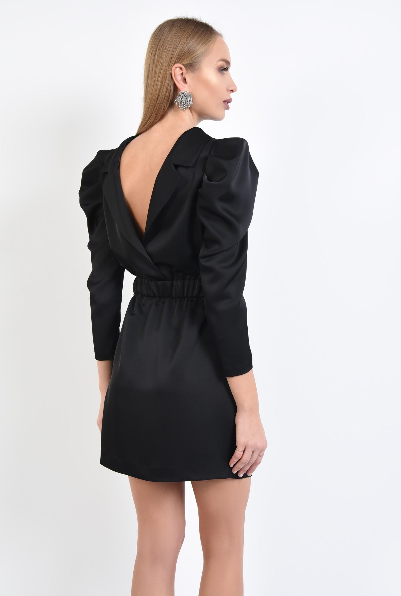 1 - 360 - rochie de ocazie, neagra, mini, maneci fantezie, tesatura satinata