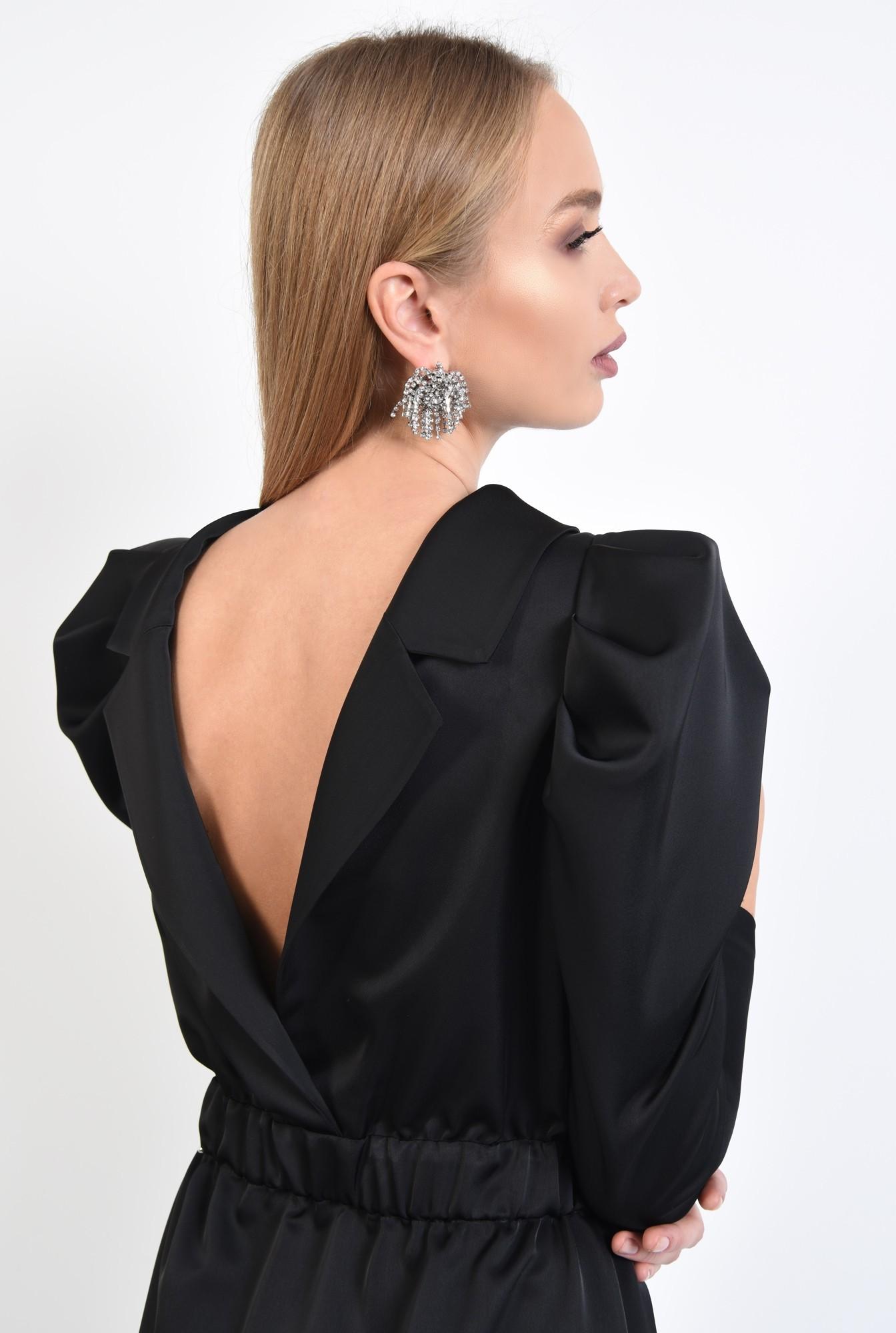 2 - 360 - rochie de ocazie, neagra, mini, maneci fantezie, tesatura satinata