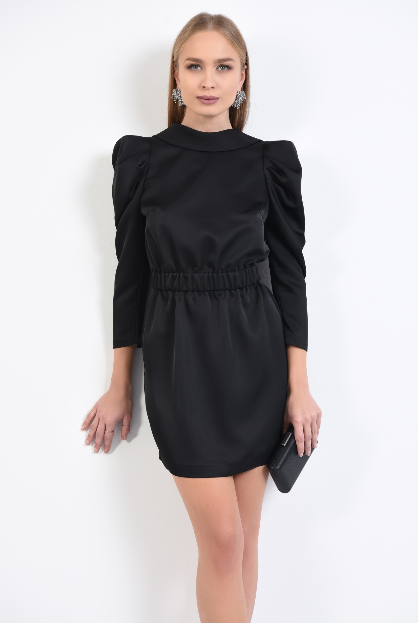 0 - 360 - rochie de ocazie, neagra, mini, maneci fantezie, tesatura satinata