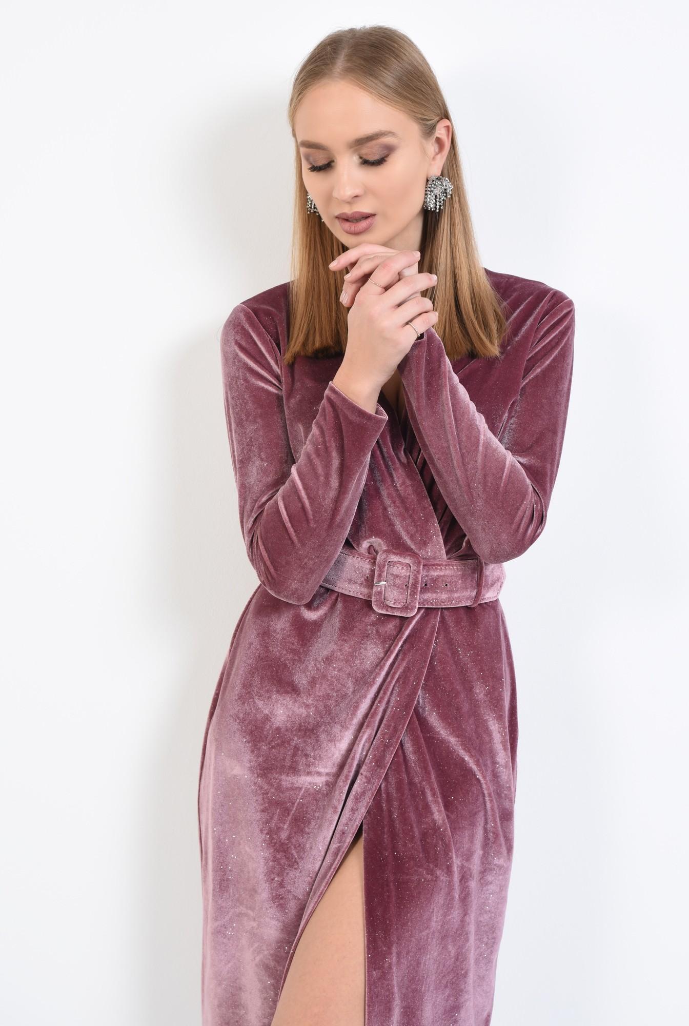 2 - 360 - rochie eleganta, croi conic, anchior petrecut, curea lata