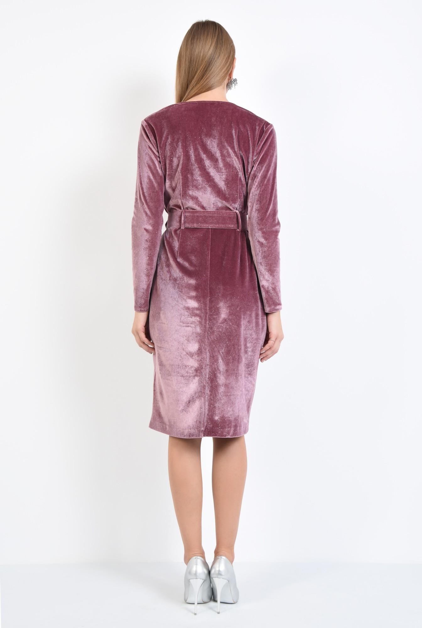 1 - 360 - rochie eleganta, croi conic, anchior petrecut, curea lata
