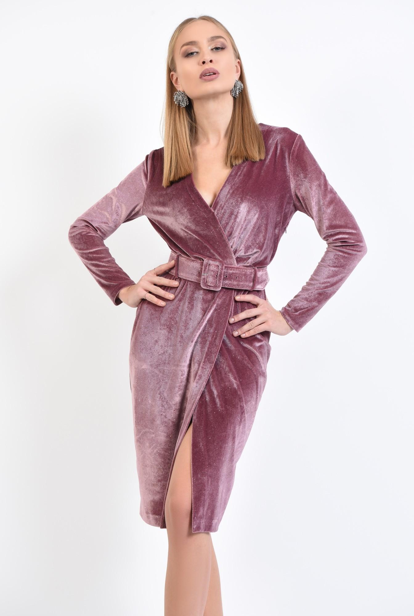 0 - 360 - rochie eleganta, croi conic, anchior petrecut, curea lata