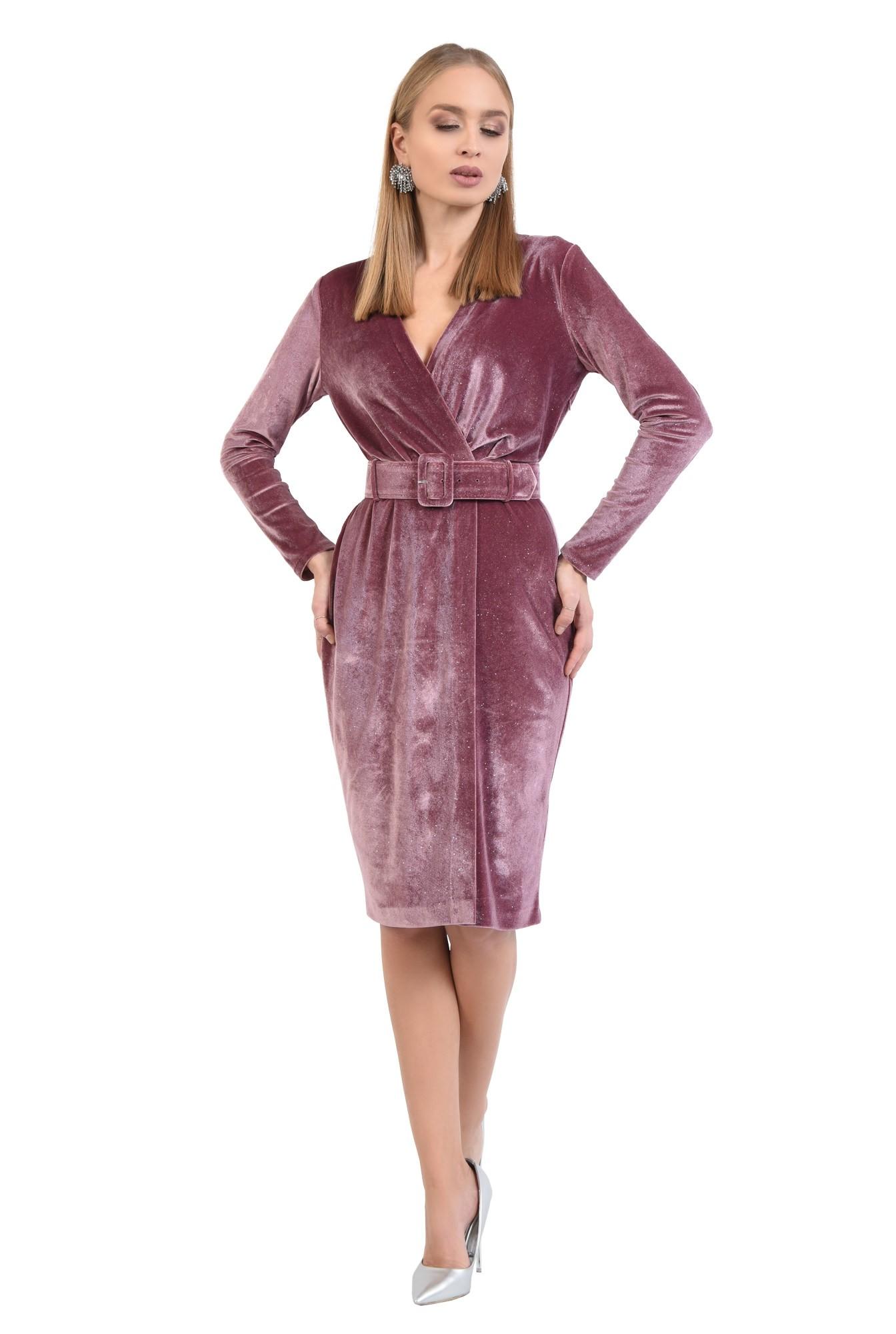 3 - 360 - rochie eleganta, croi conic, anchior petrecut, curea lata