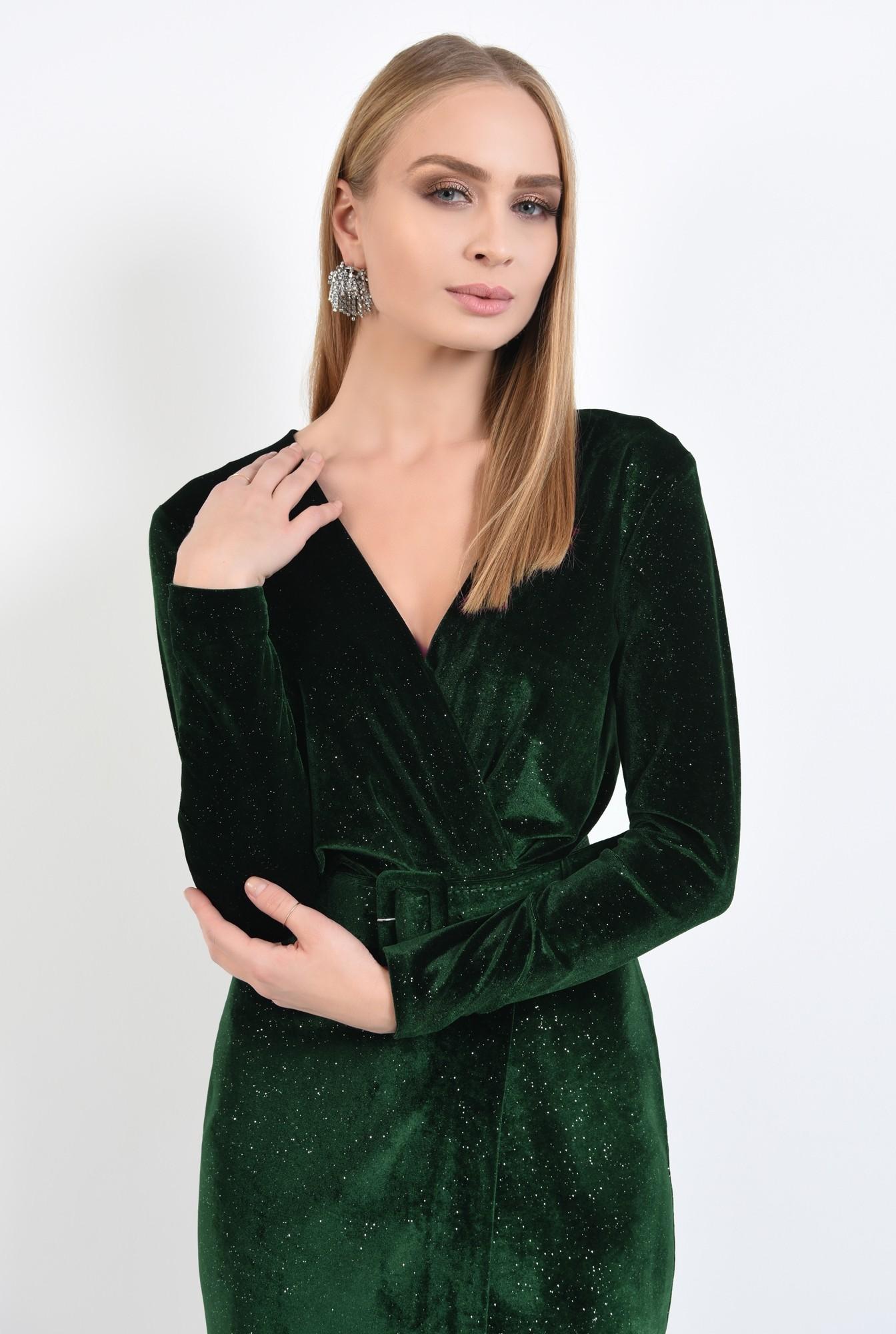2 - rochie de ocazie, verde, din catifea, cu sclipici