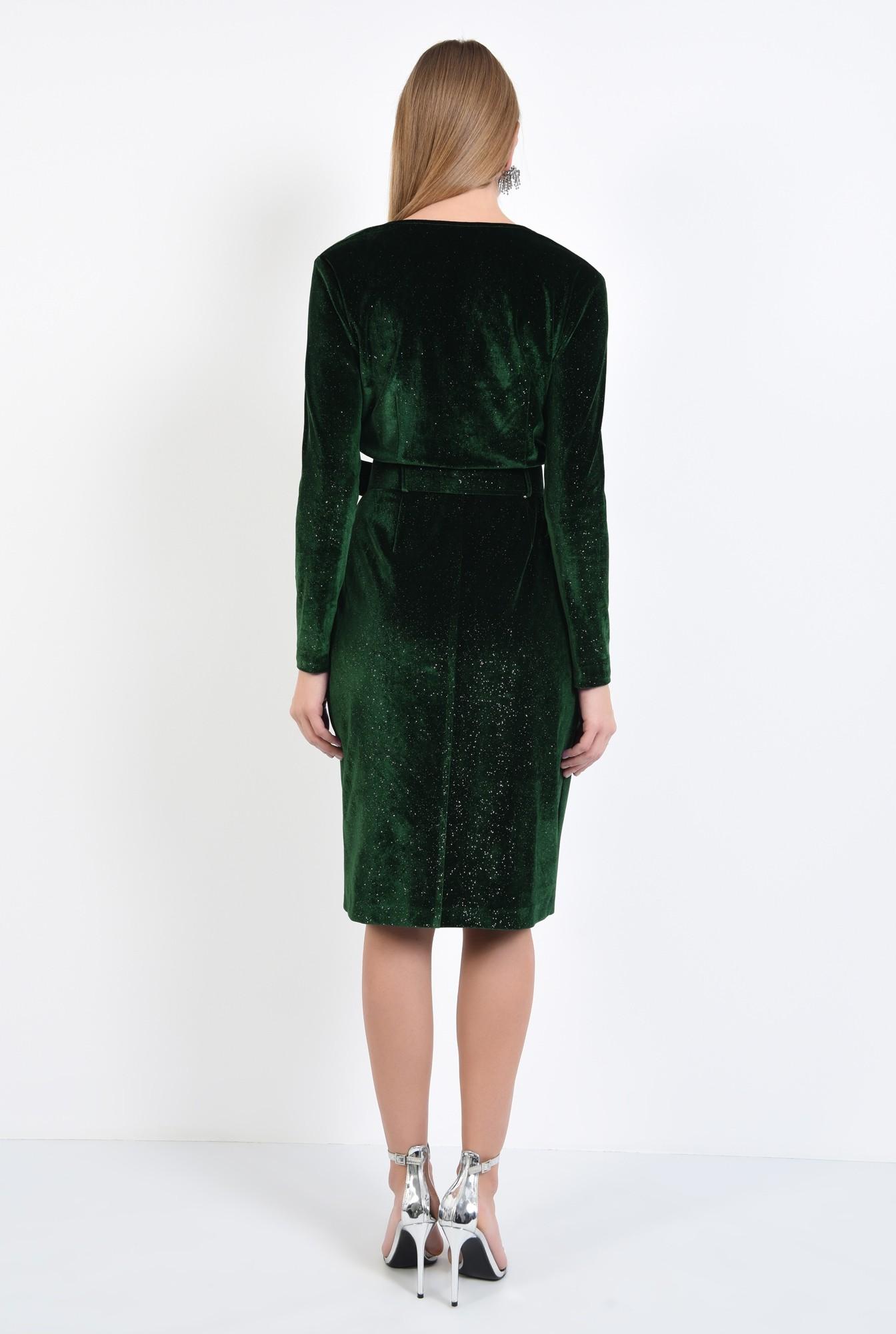 1 - rochie de ocazie, verde, din catifea, cu sclipici