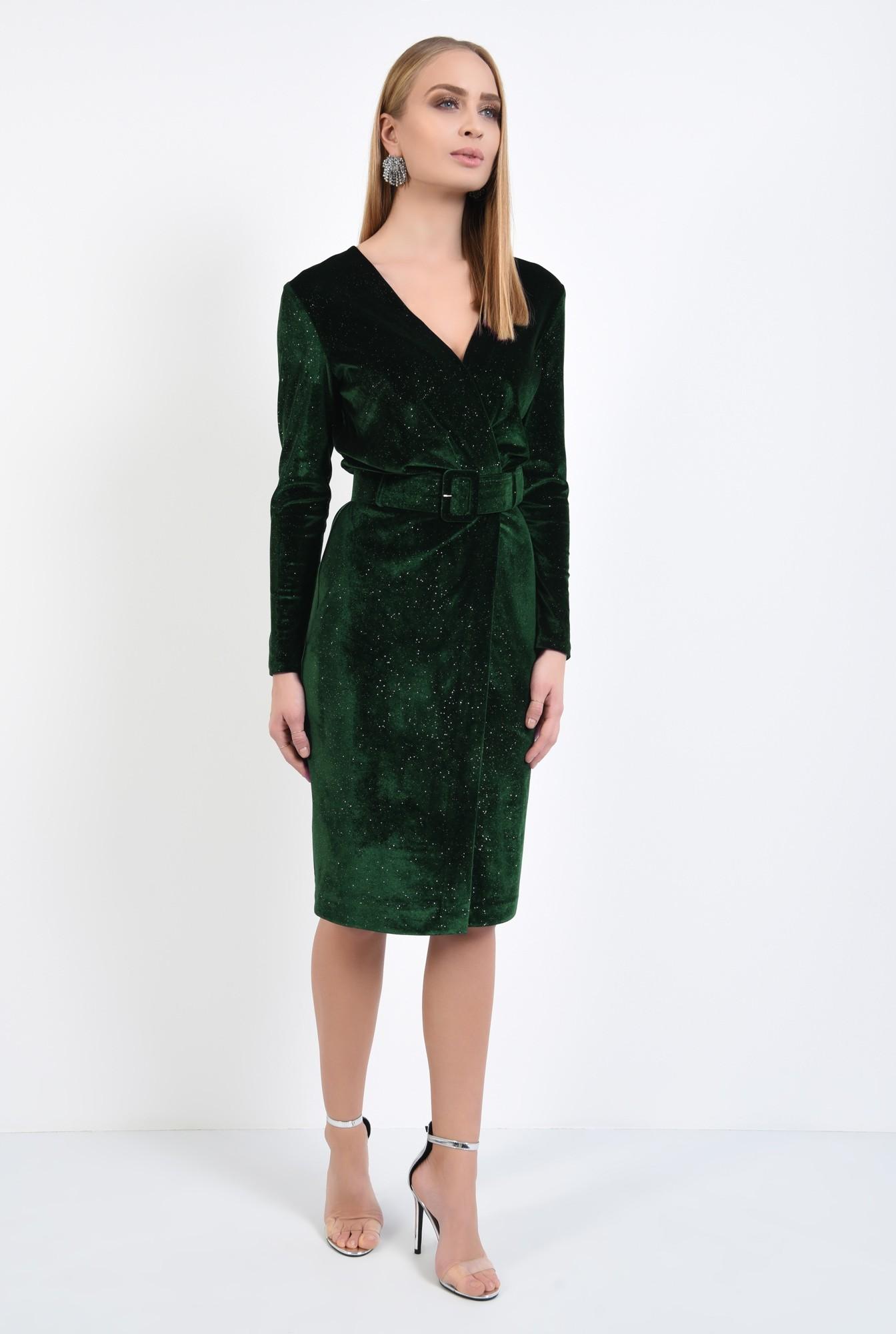 3 - rochie de ocazie, verde, din catifea, cu sclipici