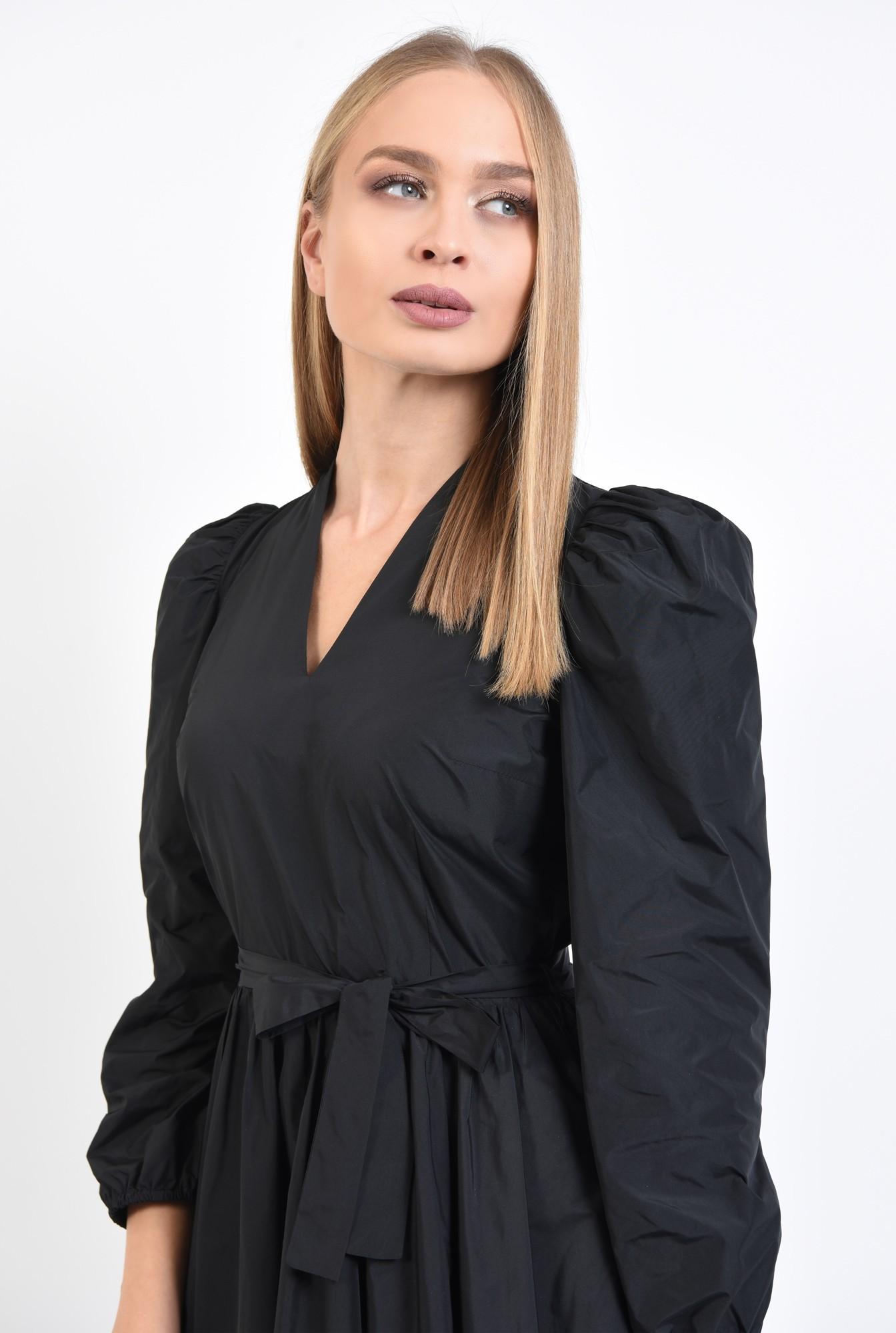 2 - rochie casual, neagra, scurta, maneci lungi bufante, funda la talie