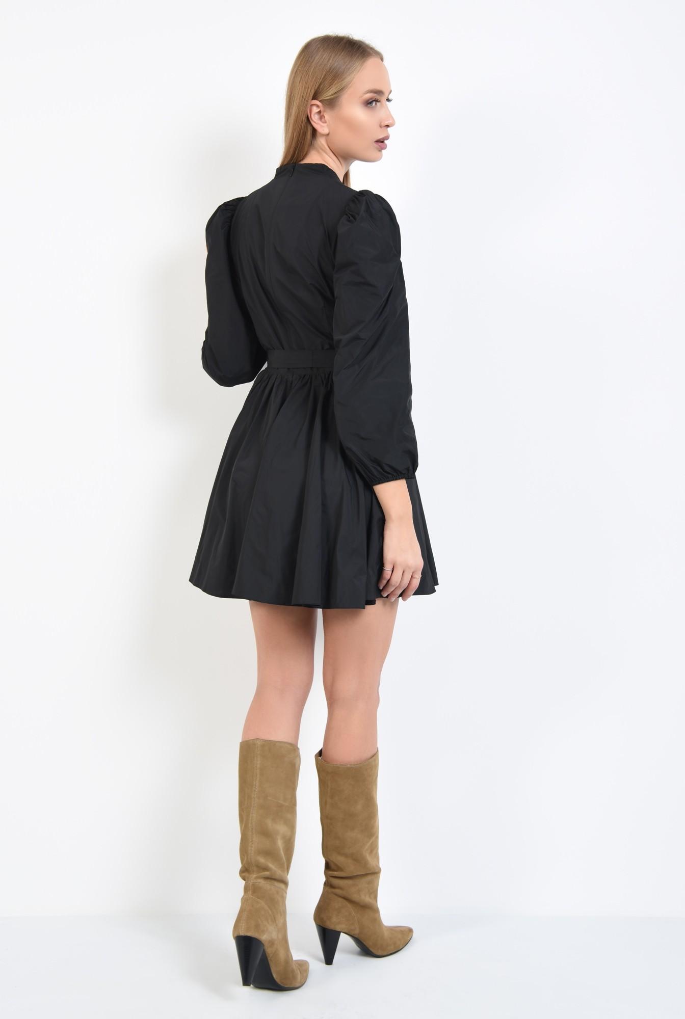 1 - rochie casual, neagra, scurta, maneci lungi bufante, funda la talie