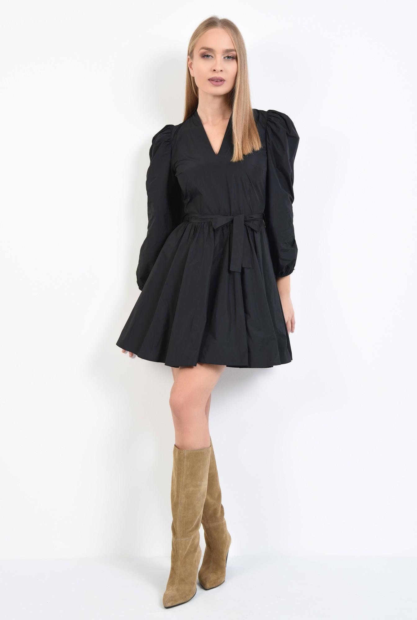 3 - rochie casual, neagra, scurta, maneci lungi bufante, funda la talie