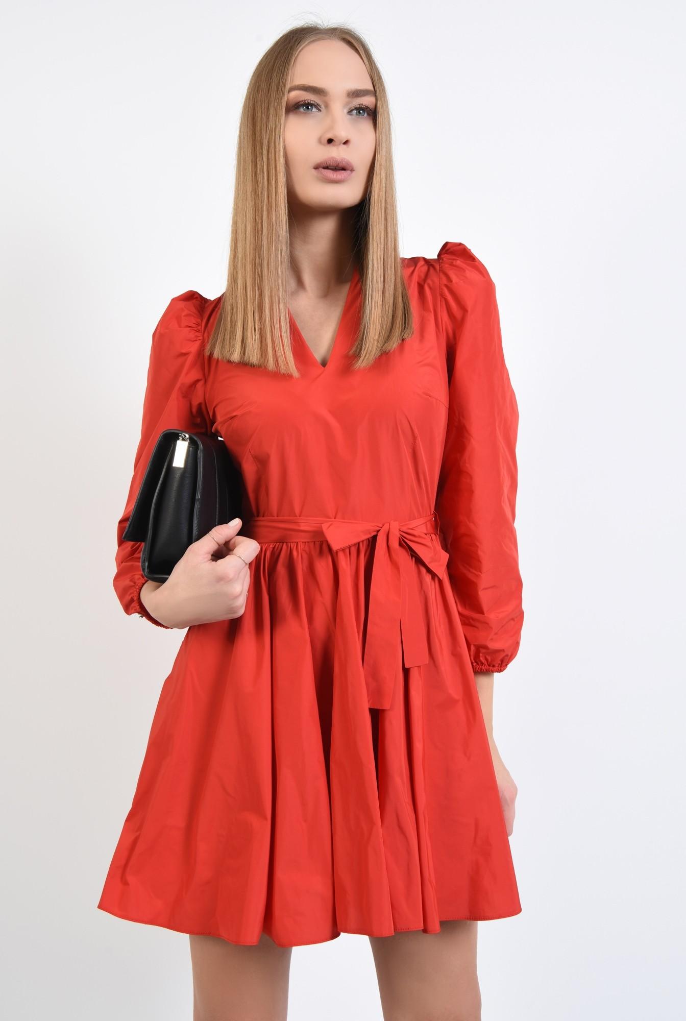 2 - 360 - rochie de zi, rosie, aspect sifonat, croi clos