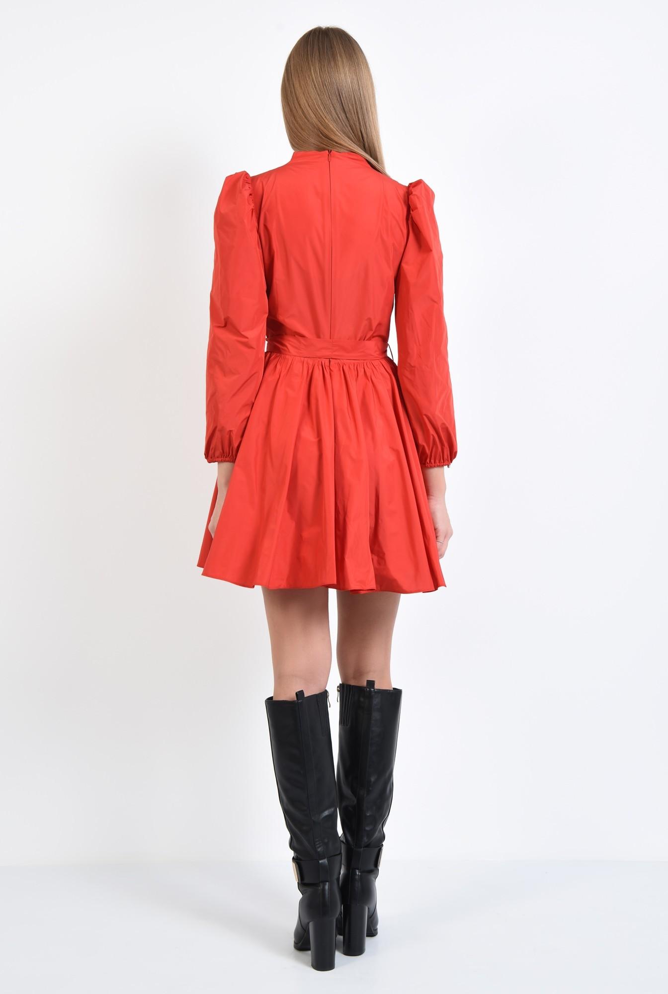 1 - 360 - rochie de zi, rosie, aspect sifonat, croi clos