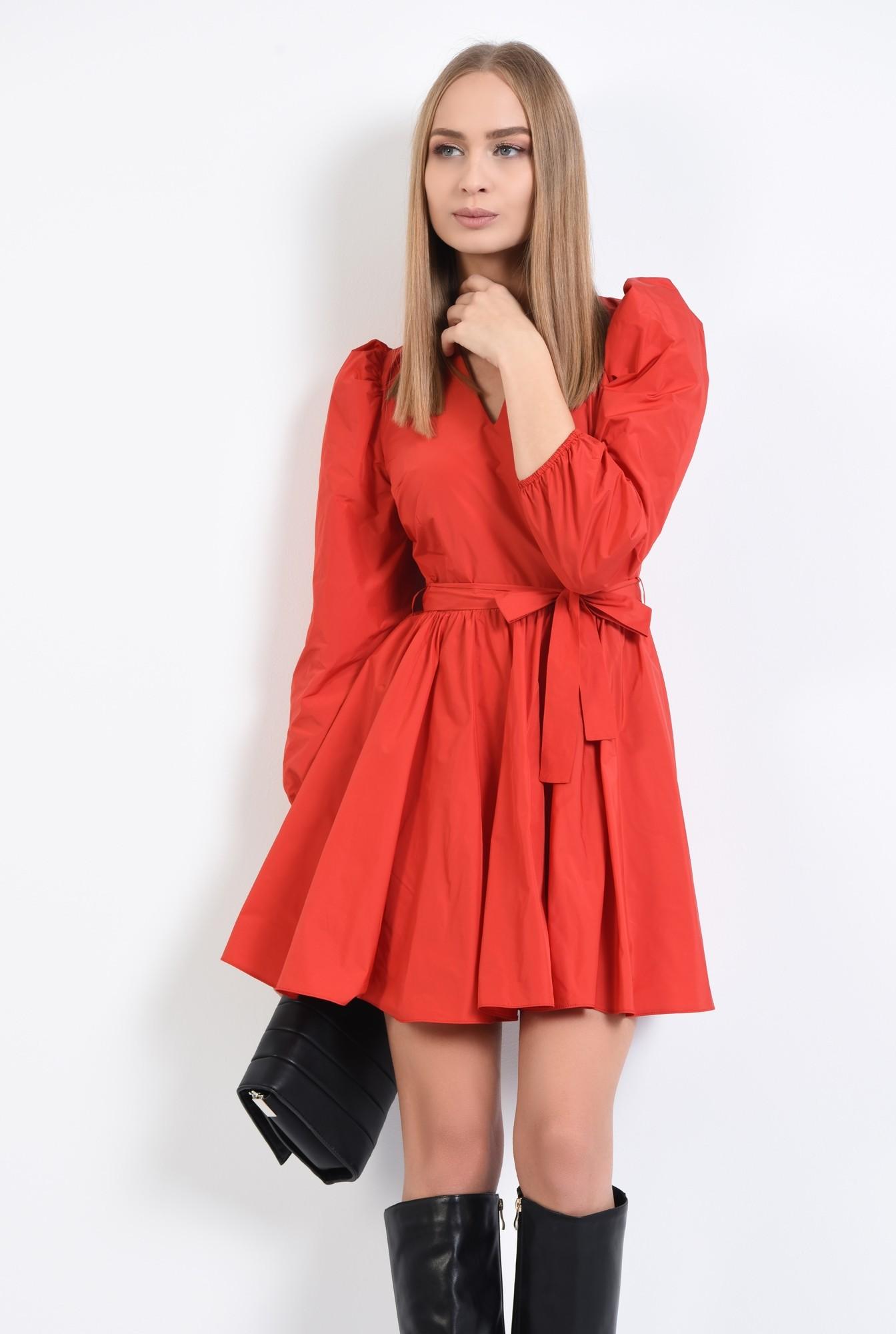0 - 360 - rochie de zi, rosie, aspect sifonat, croi clos