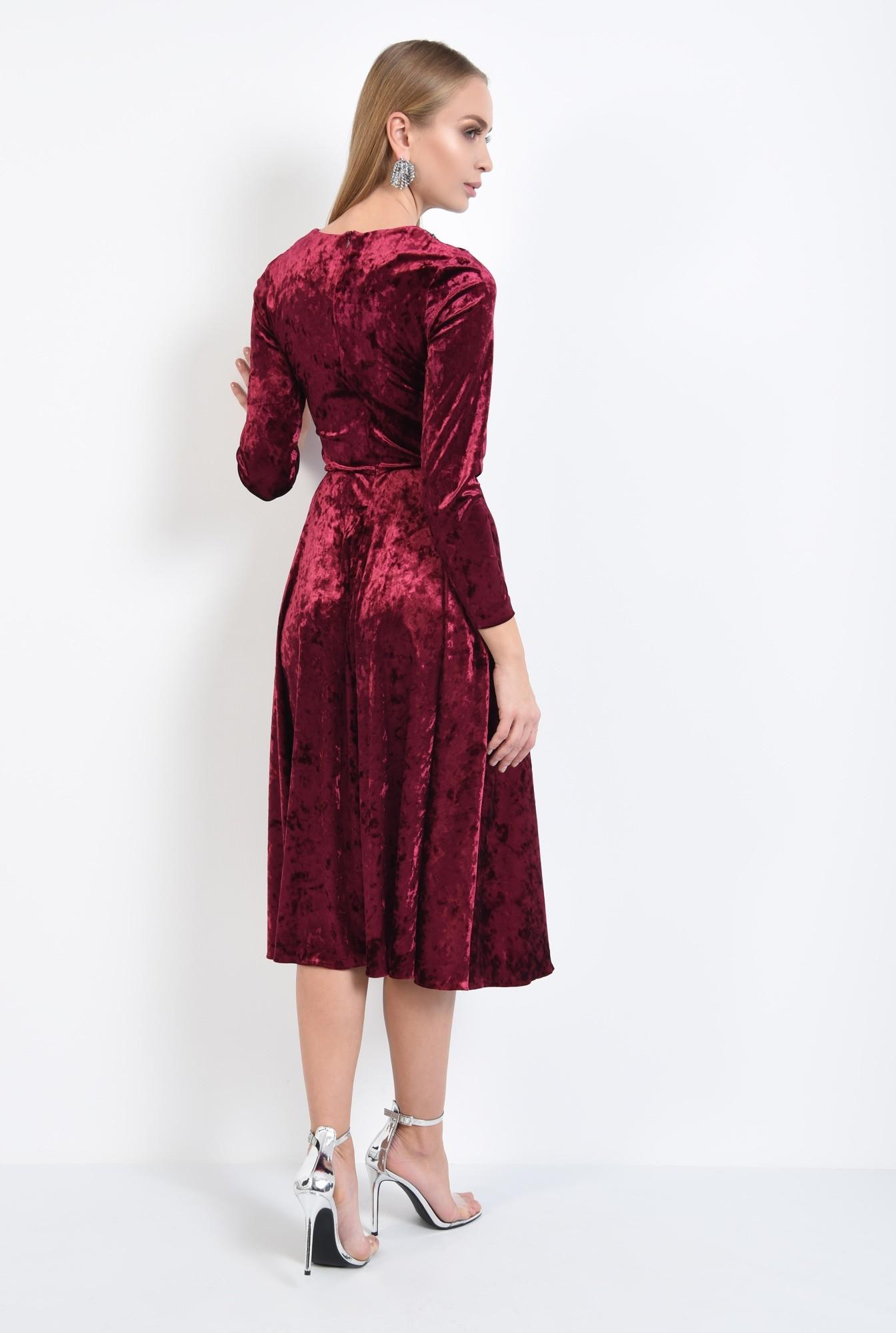 1 - 360 - rochie de ocazie, din catifea, grena, cu pasmanterie