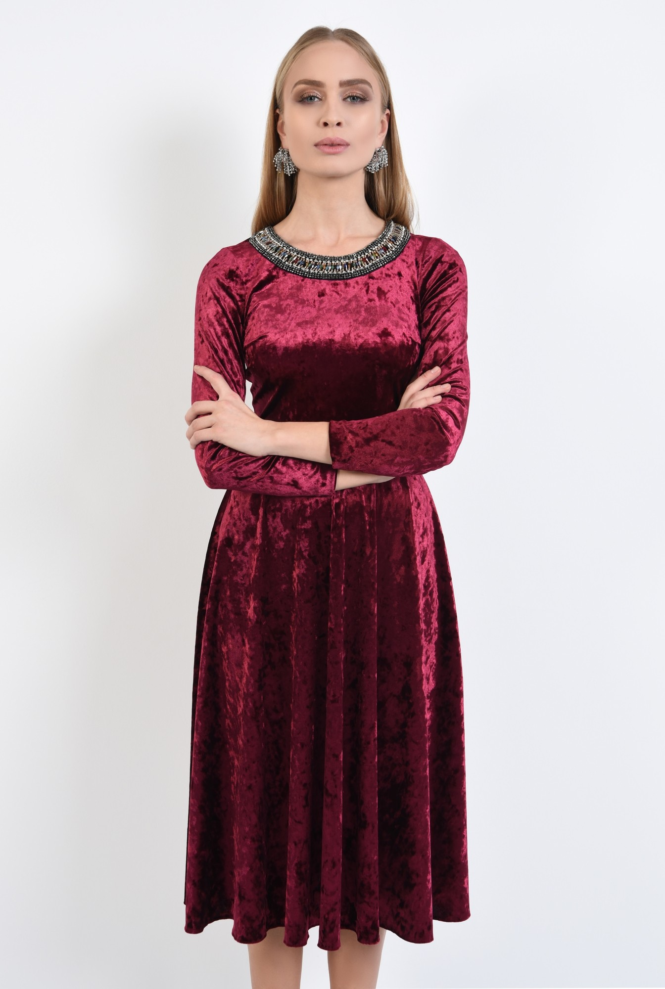 0 - 360 - rochie de ocazie, din catifea, grena, cu pasmanterie