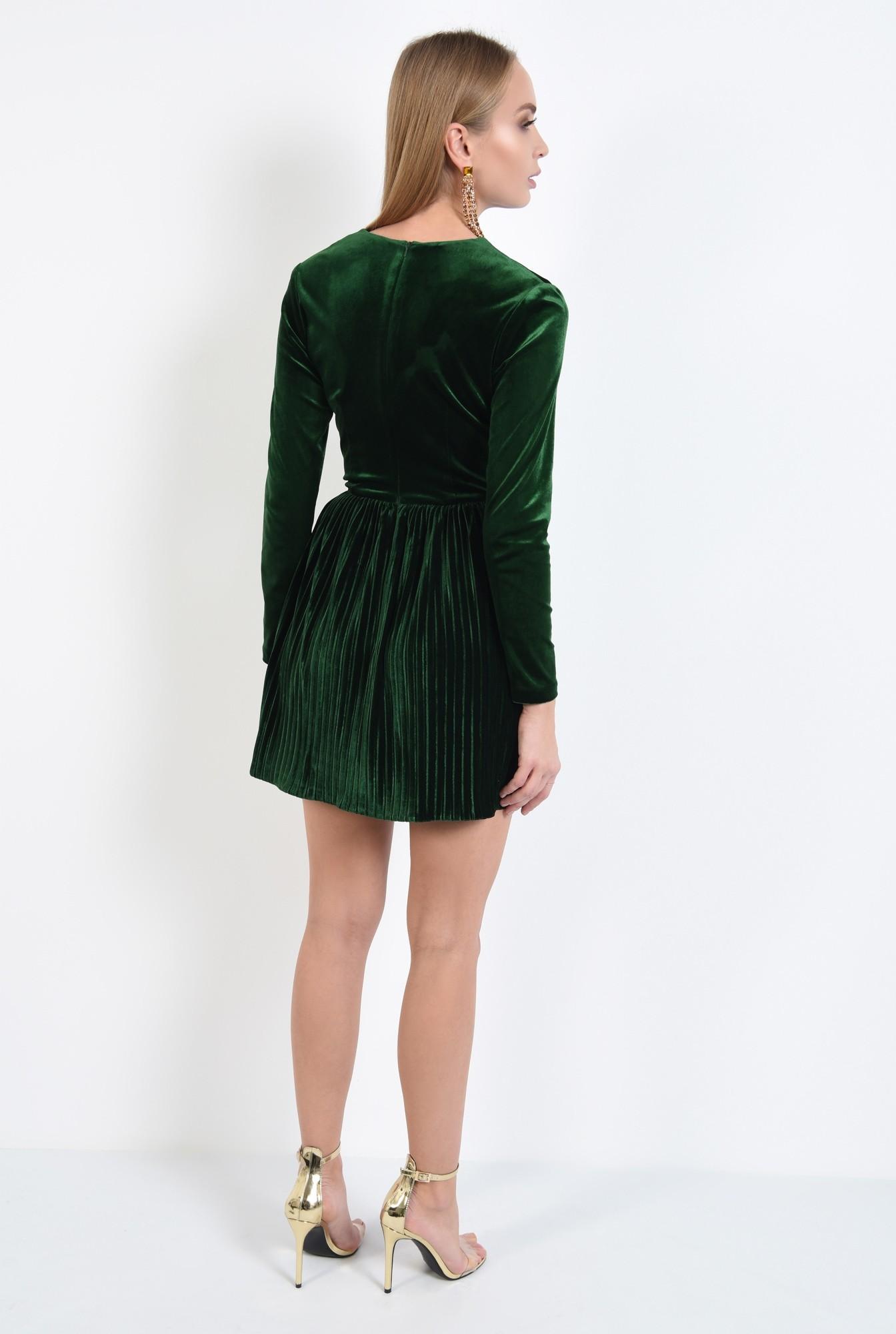 1 - rochie de ocazie, din catifea, verde, cu pliseuri