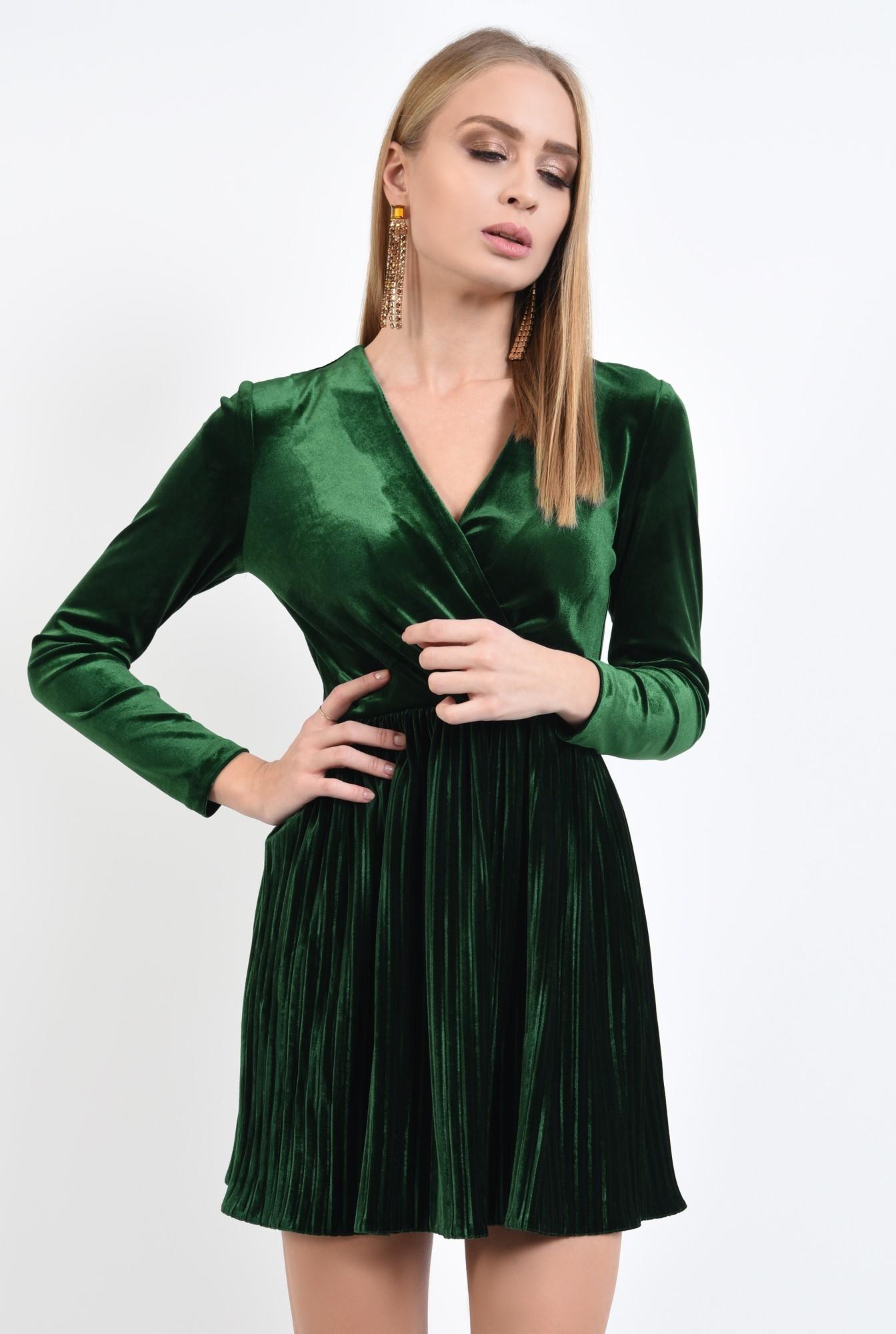 2 - rochie de ocazie, din catifea, verde, cu pliseuri