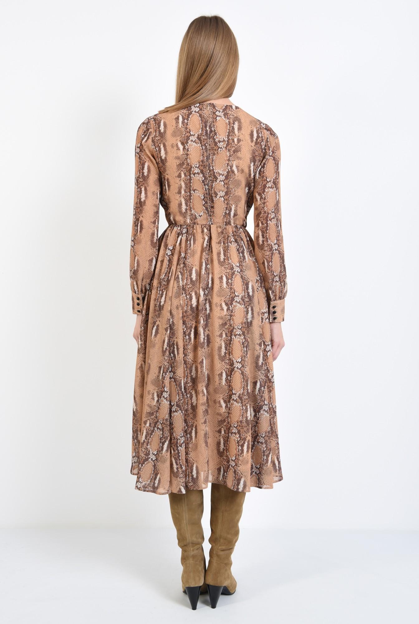 1 - rochie de zi, din voal imprimat, maneci lungi, decolteu la baza gatului