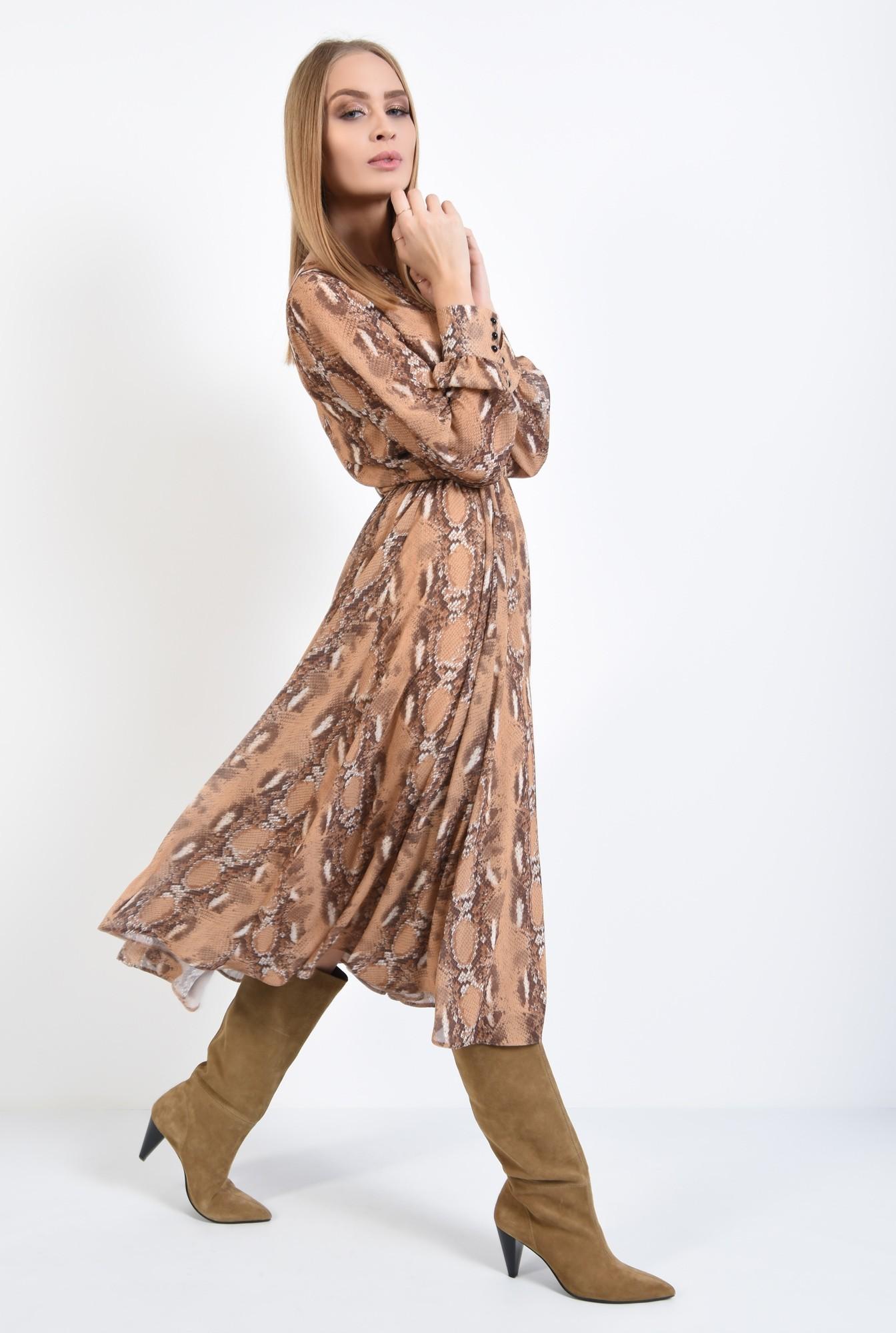 3 - rochie de zi, din voal imprimat, maneci lungi, decolteu la baza gatului
