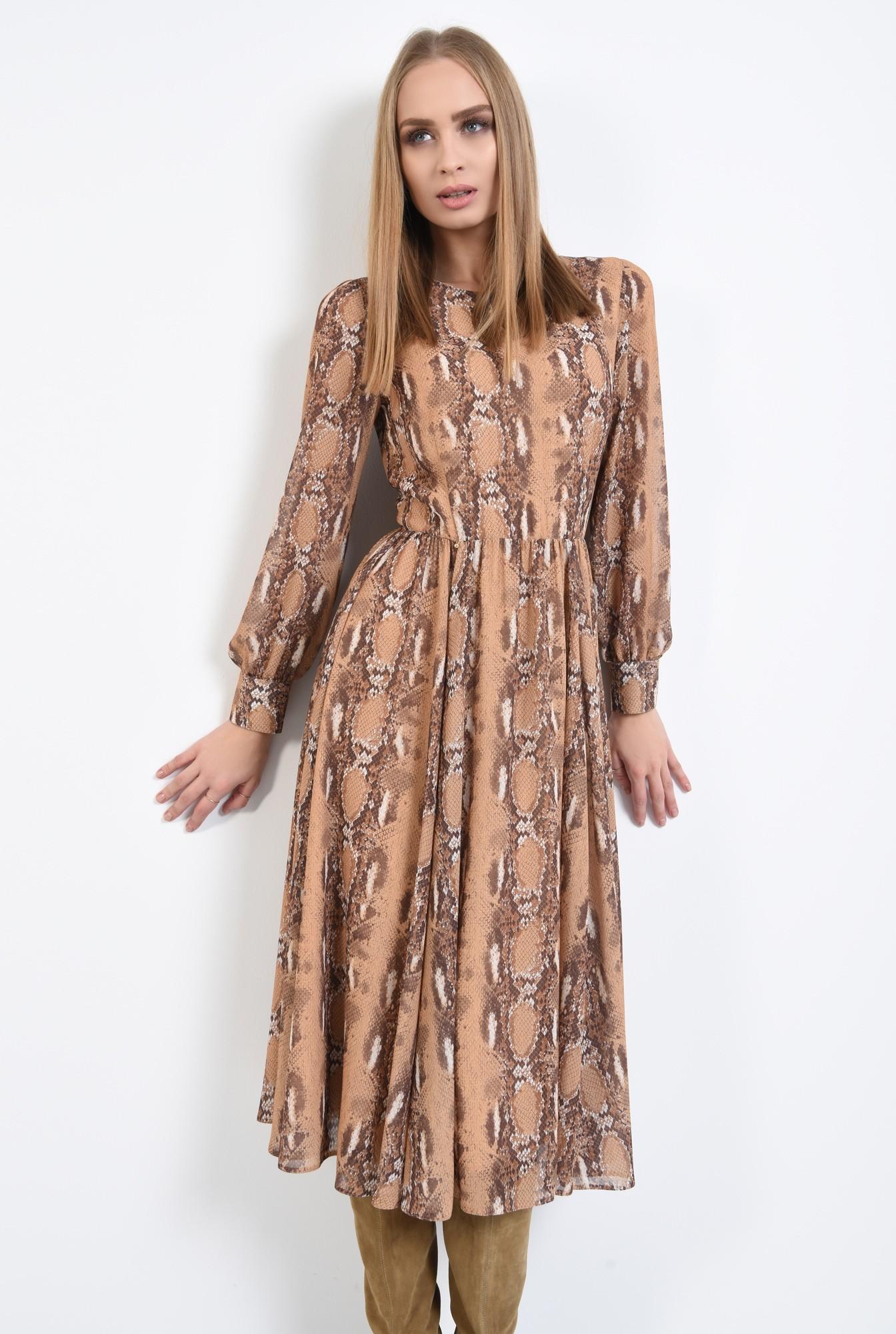 2 - rochie de zi, din voal imprimat, maneci lungi, decolteu la baza gatului