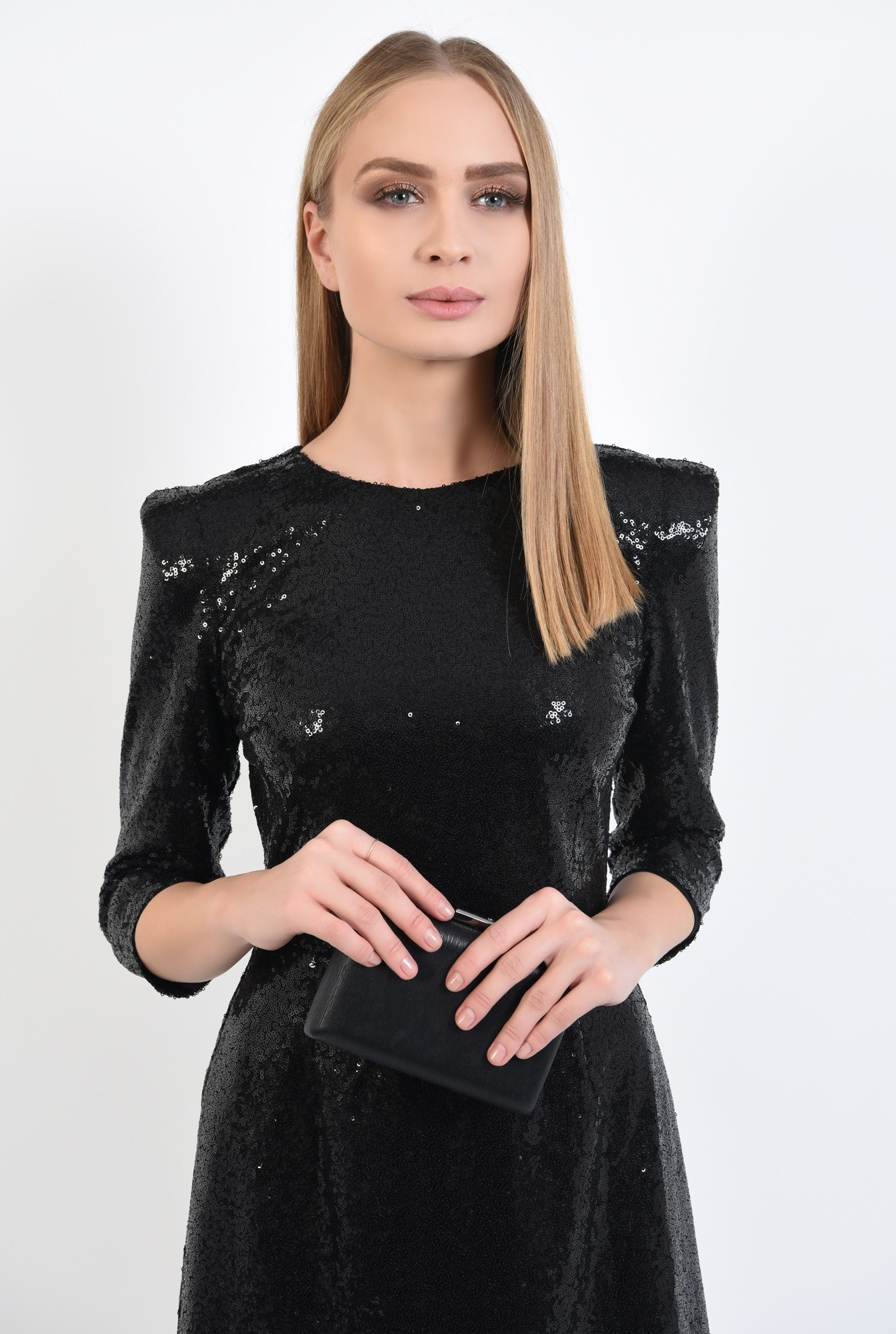 2 - rochie de ocazie, neagra, din paiete, cambrata, scurta