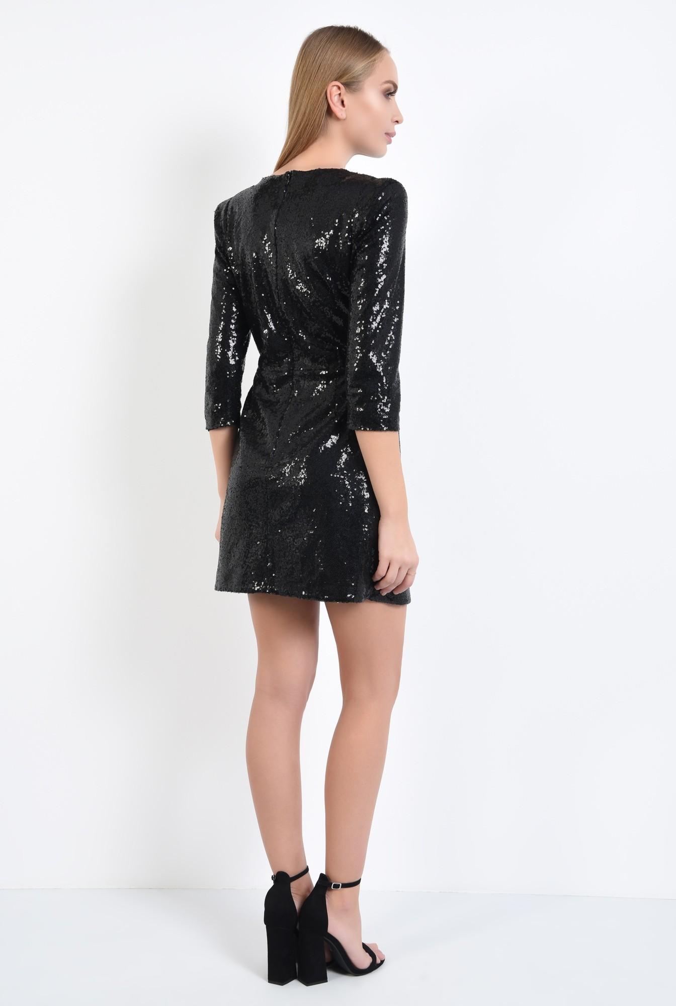 1 - rochie de ocazie, neagra, din paiete, cambrata, scurta