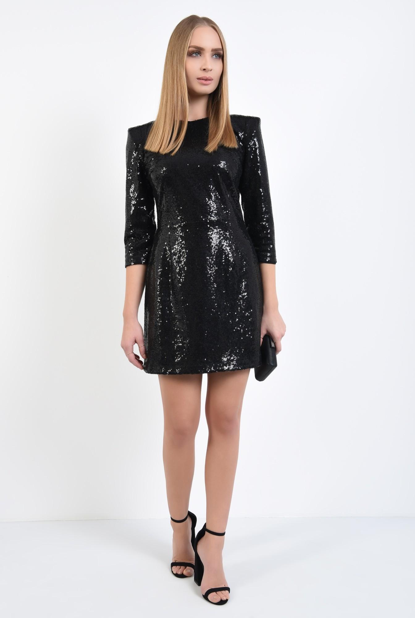 3 - rochie de ocazie, neagra, din paiete, cambrata, scurta