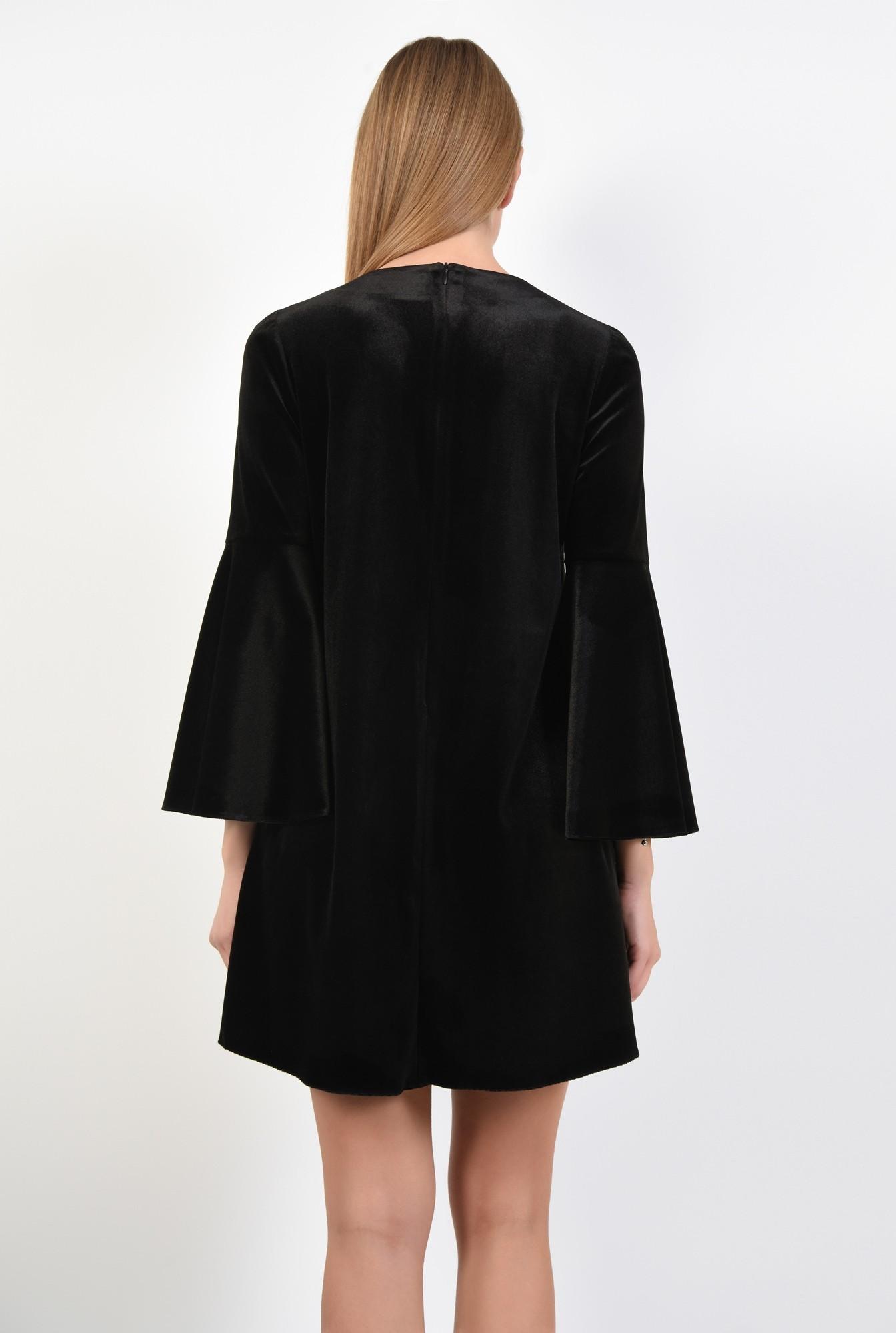 1 - rochie de ocazie, mini, din catifea, cu funda din paiete, croi evazat