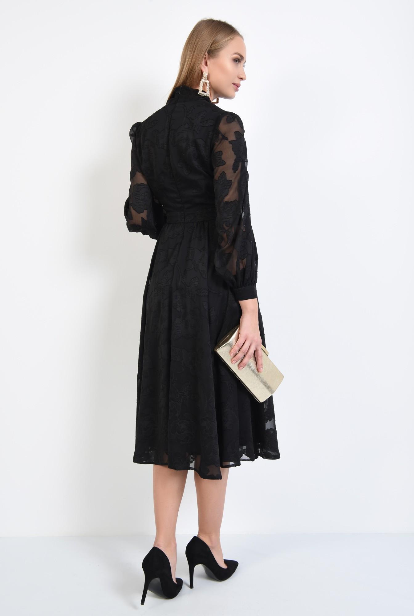 1 - 360 - rochie eleganta, clos, neagra, funda la gat, maneci transparente