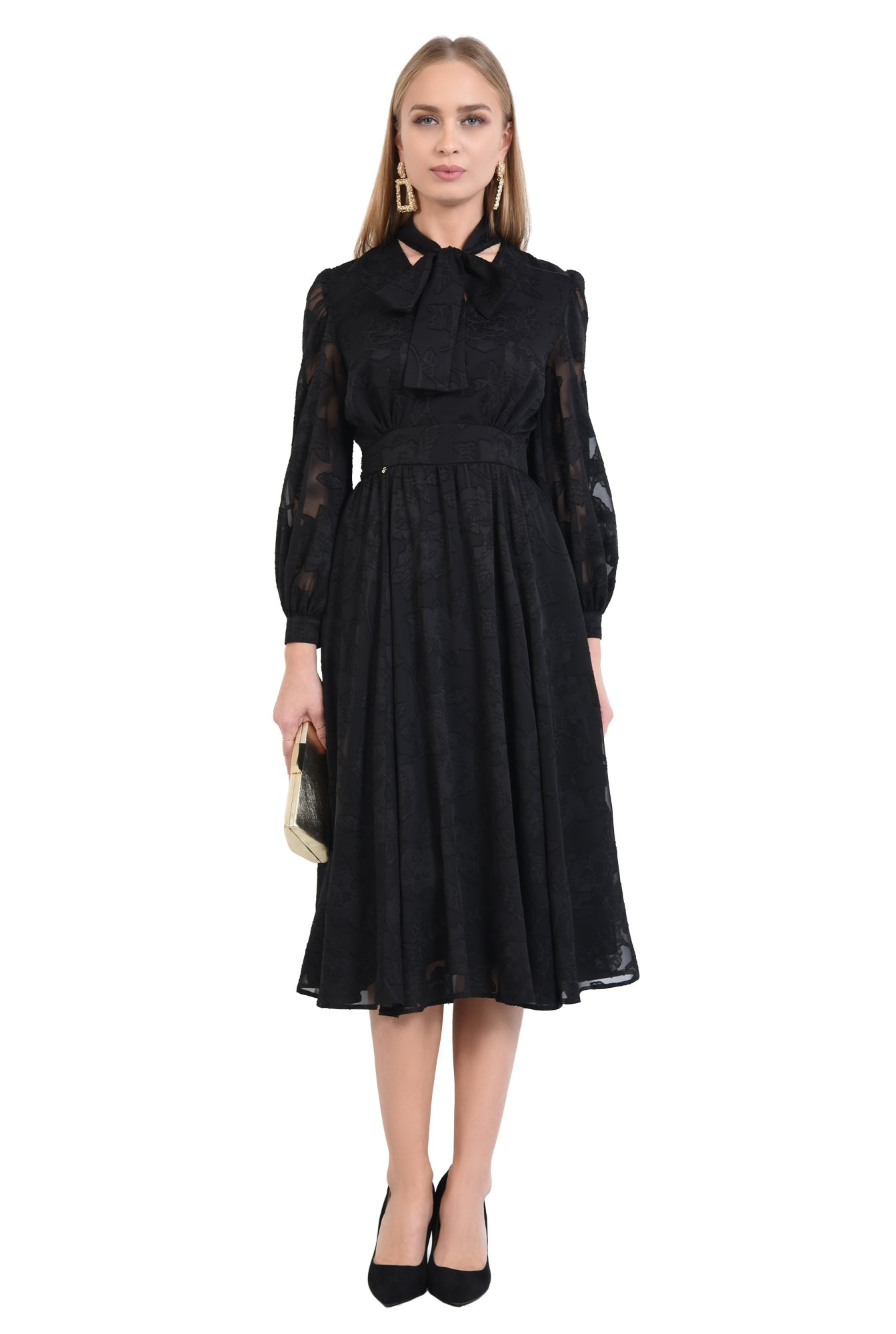 3 - 360 - rochie eleganta, clos, neagra, funda la gat, maneci transparente